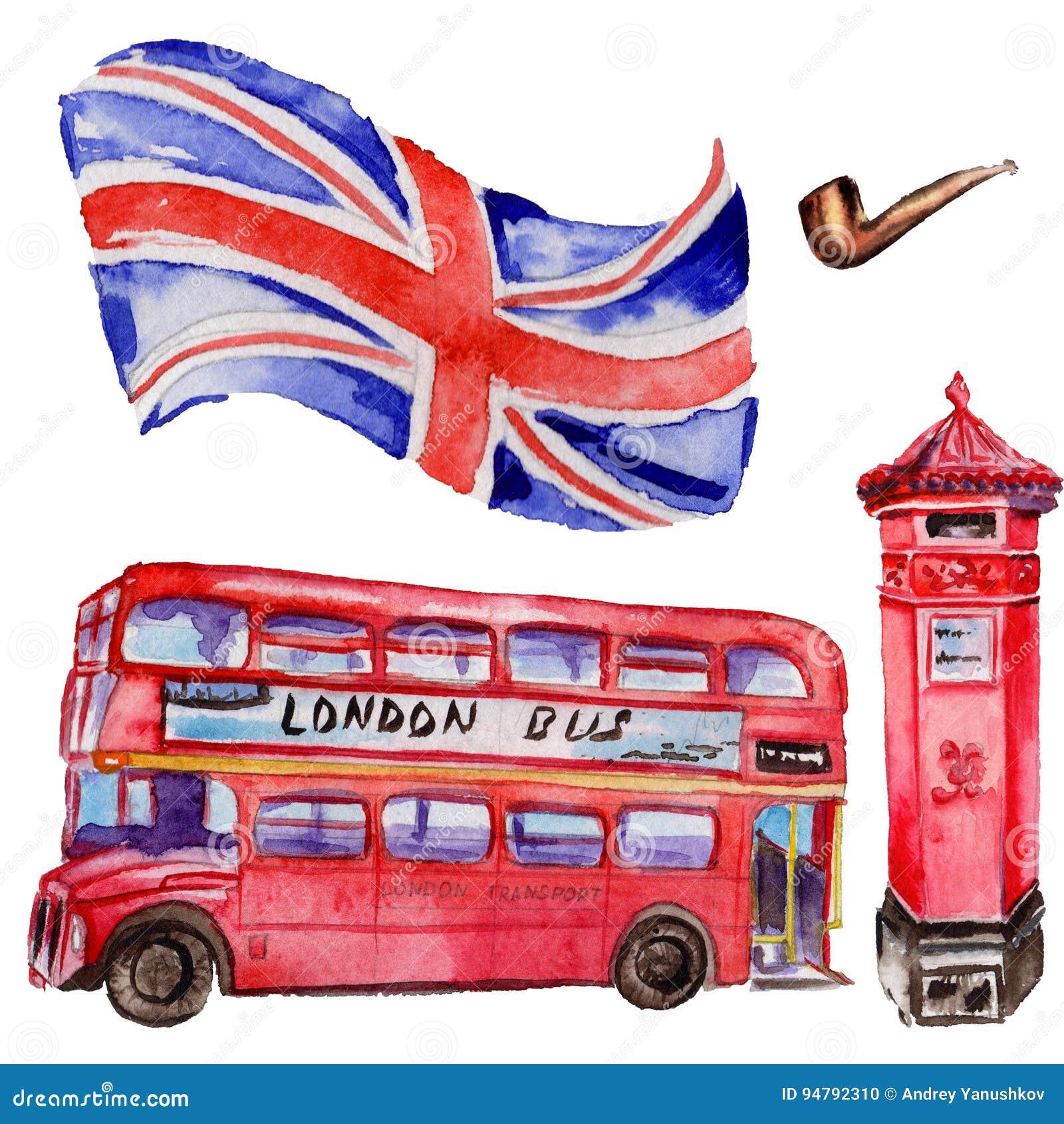 Illustration de Londres d aquarelle Symboles tirés par la main de la Grande-Bretagne Autobus britannique