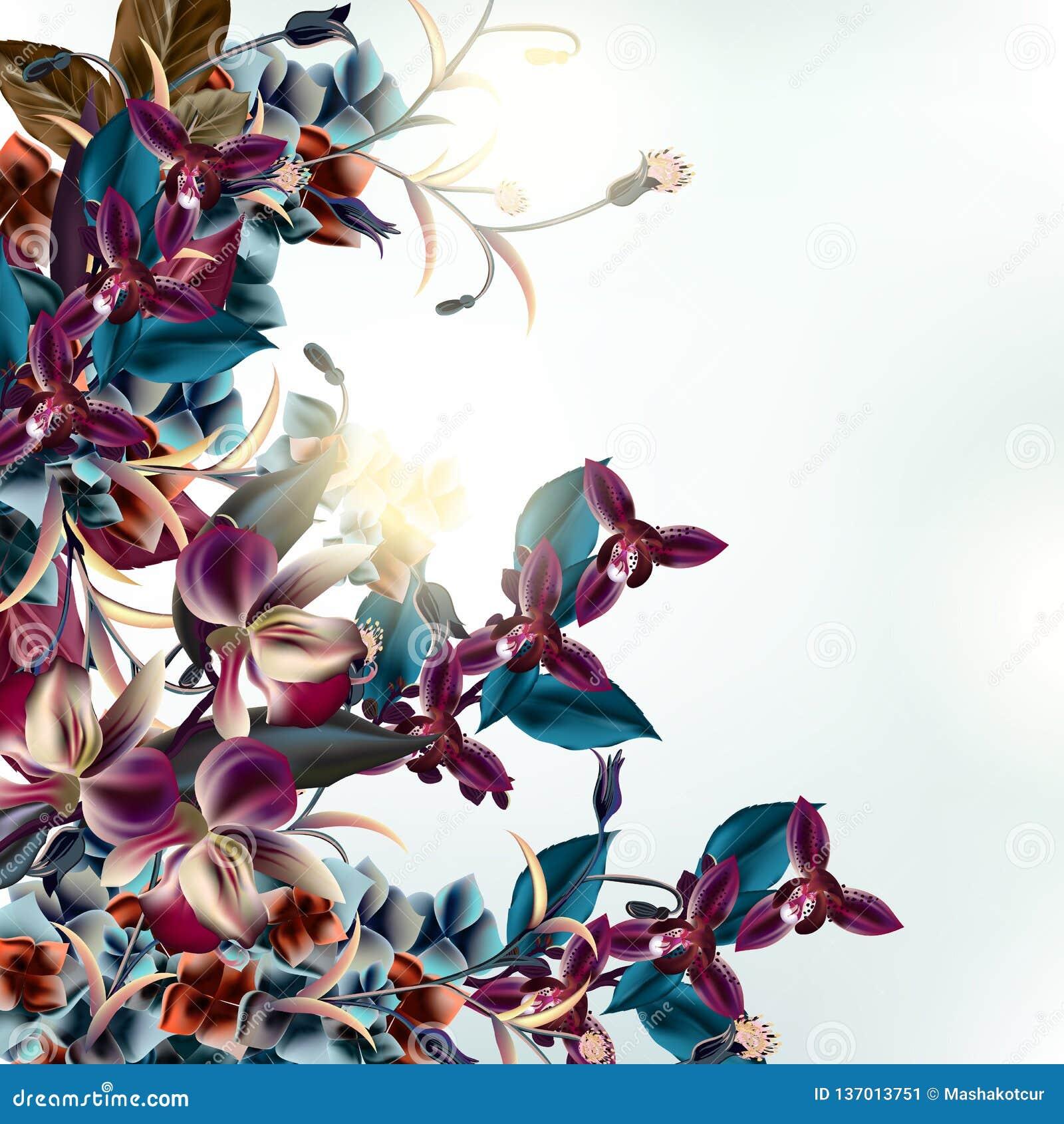 Illustration de mode avec les fleurs tropicales d orchidée