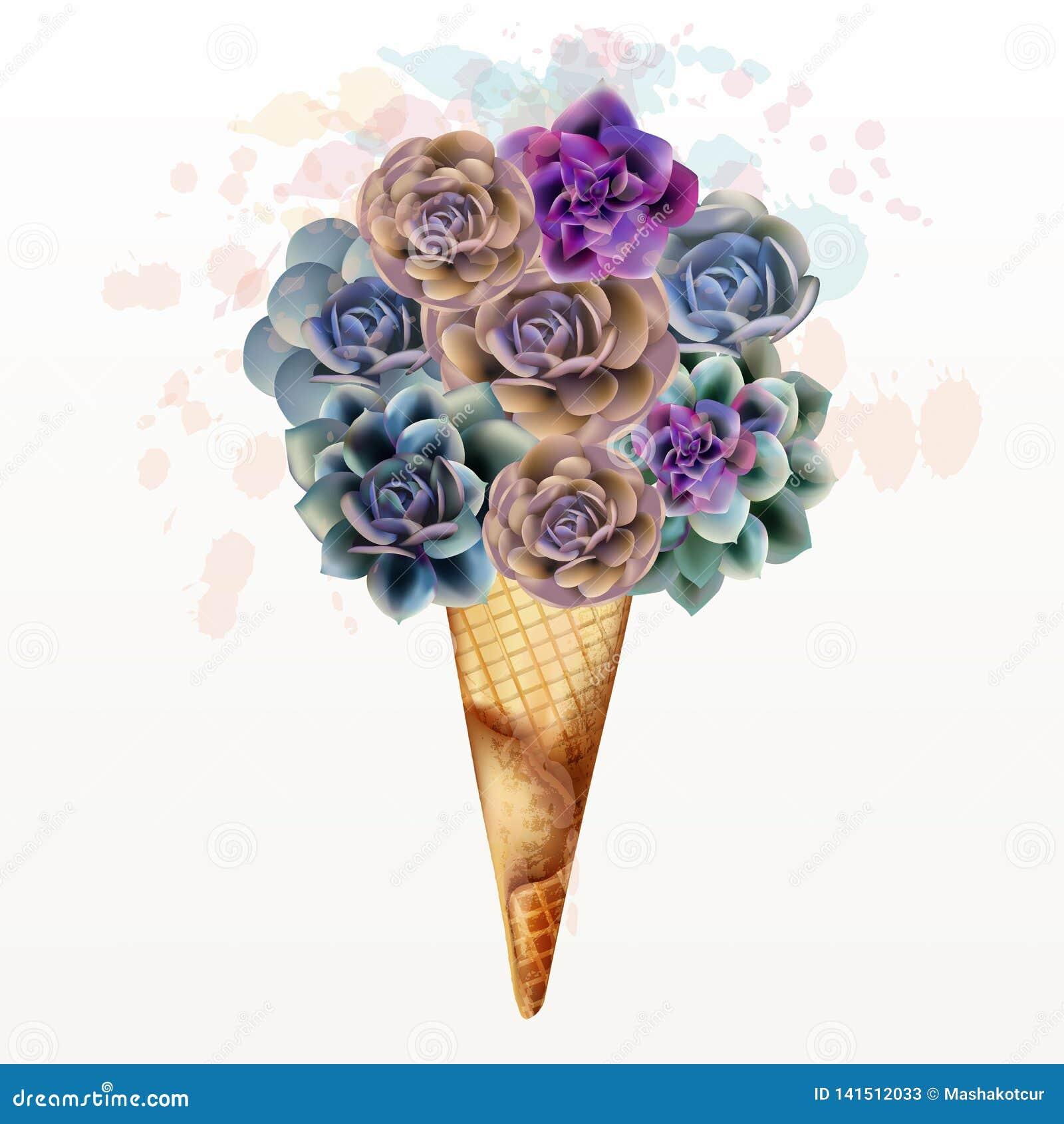 Illustration de mode, copie de T-shirt avec la crème glacée créative des succulents