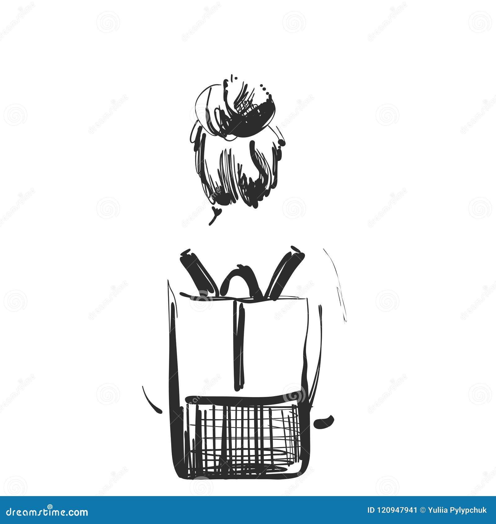 Illustration De Mode De Fille Avec Un Sac à Dos Type De