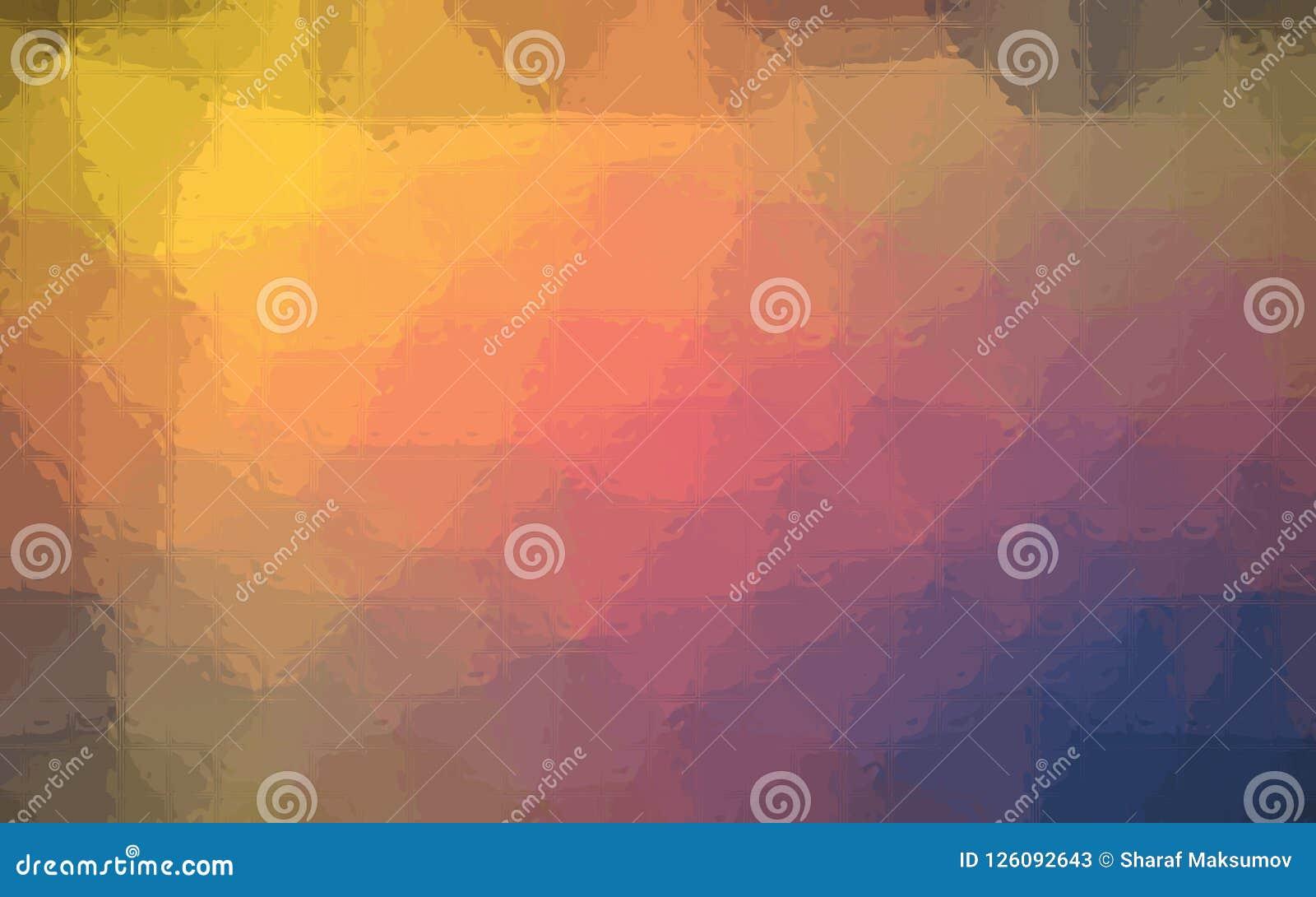 Illustration de mosaïque bleue, rouge et jaune par le fond de briques en verre
