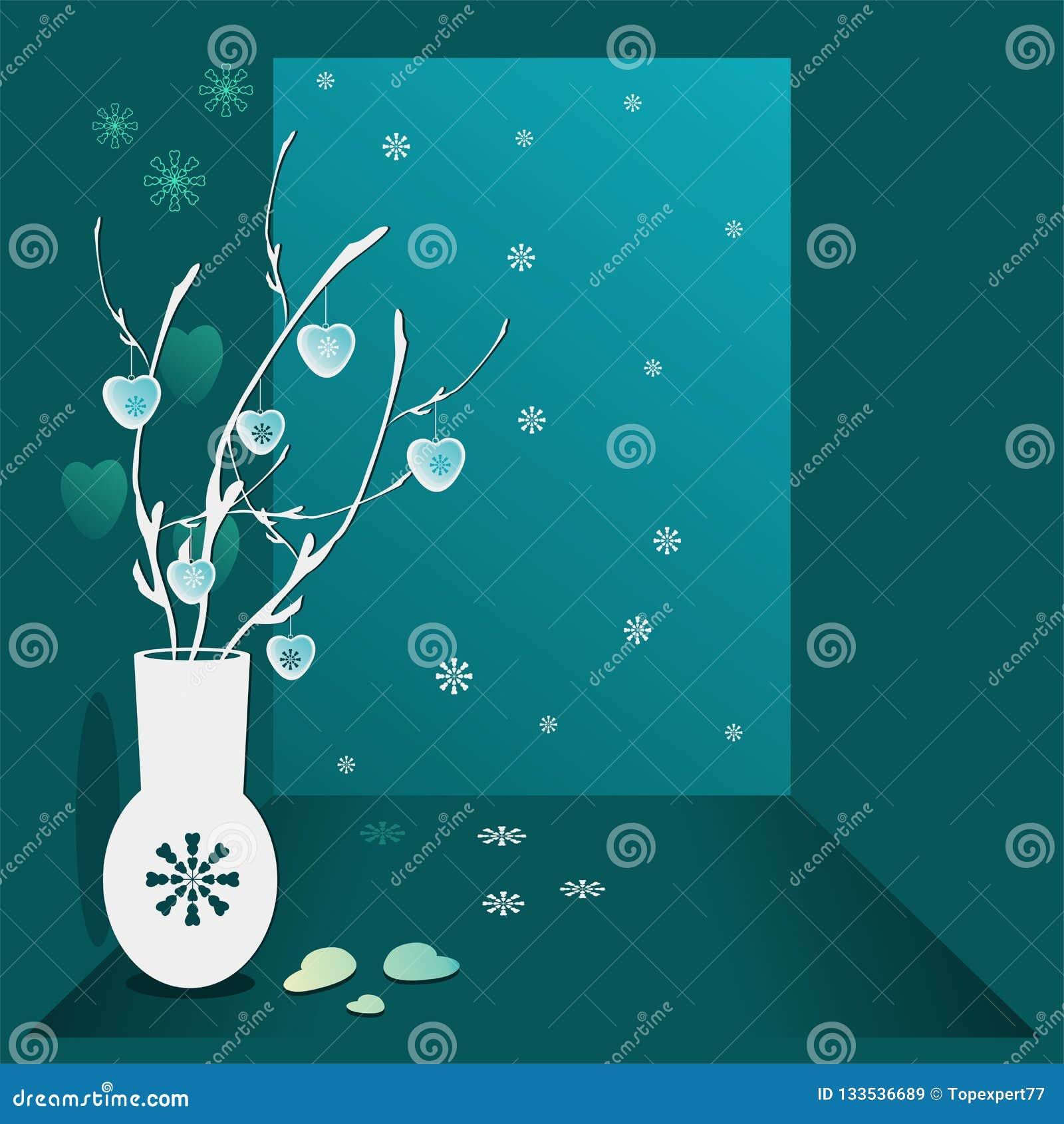 Illustration de Noël Sarcelle d hiver de fond avec des brins en vase, coeurs accrochants et flocons de neige Une image de jour de