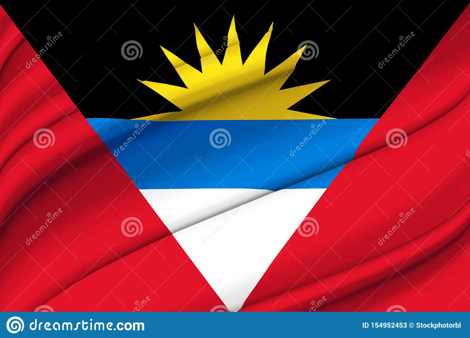 Illustration de ondulation de drapeau de l Antigua-et-Barbuda