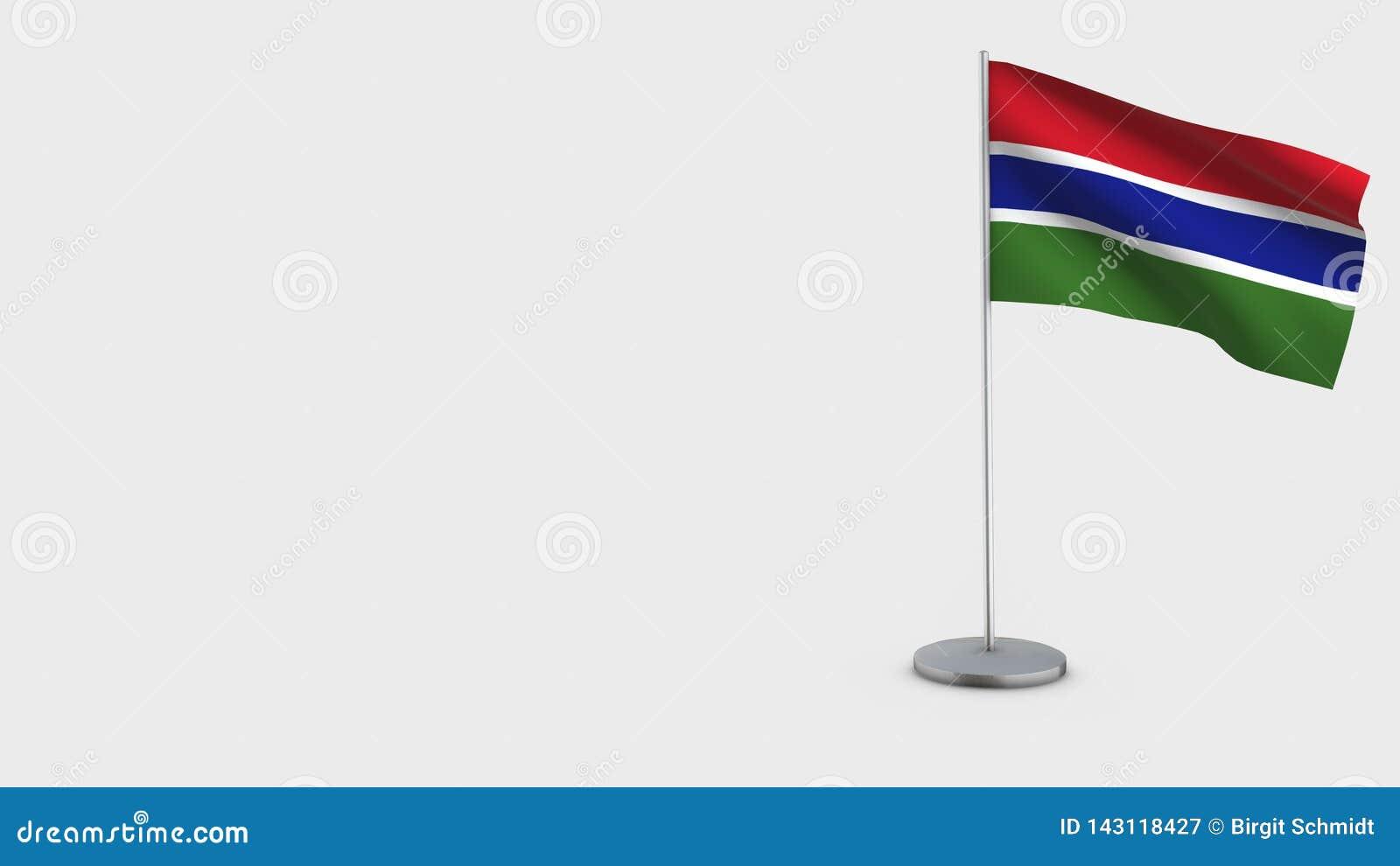 Illustration de ondulation de drapeau de la Gambie 3D