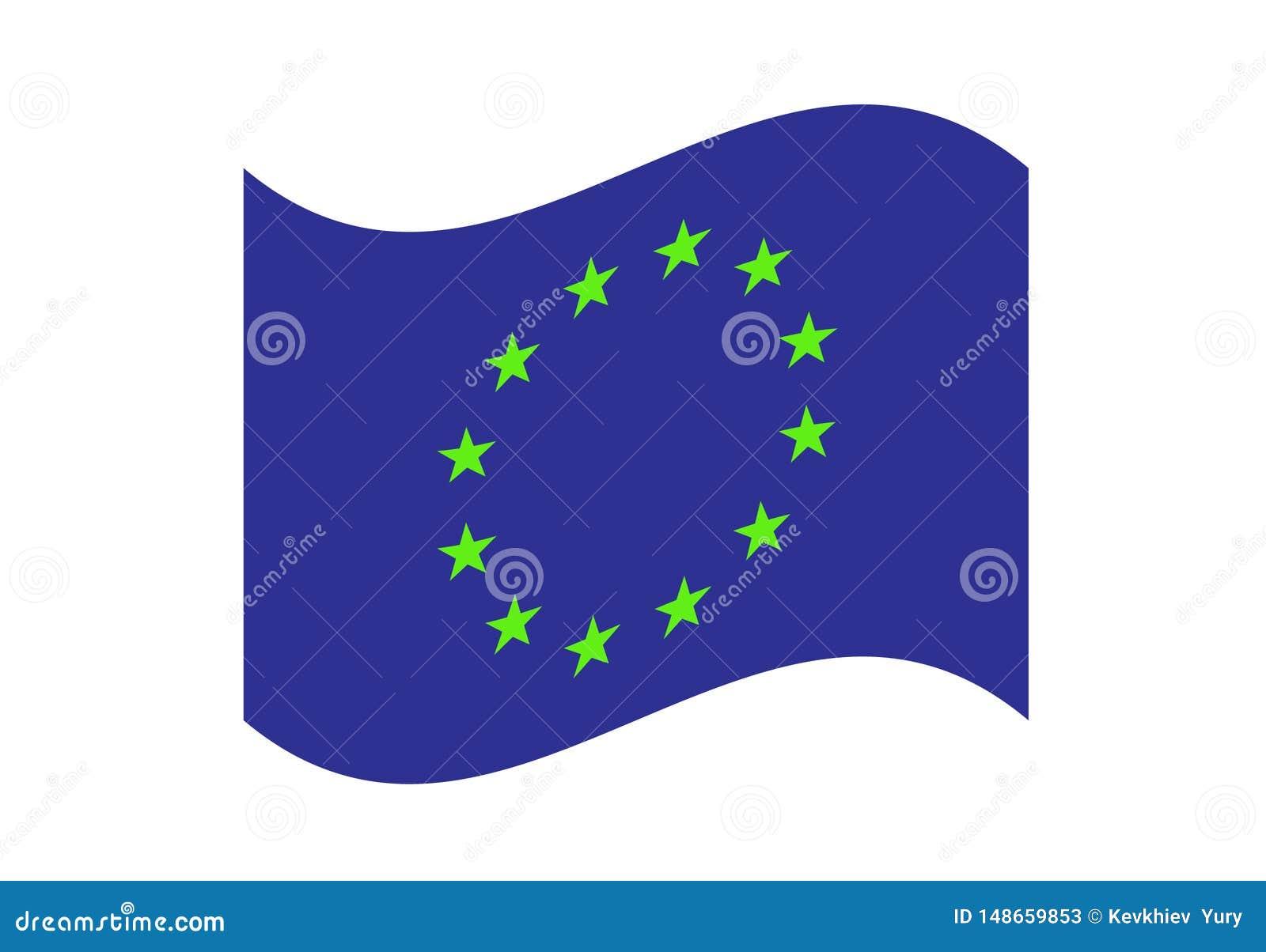 Illustration de ondulation eps10 de vecteur de drapeau d Union européenne