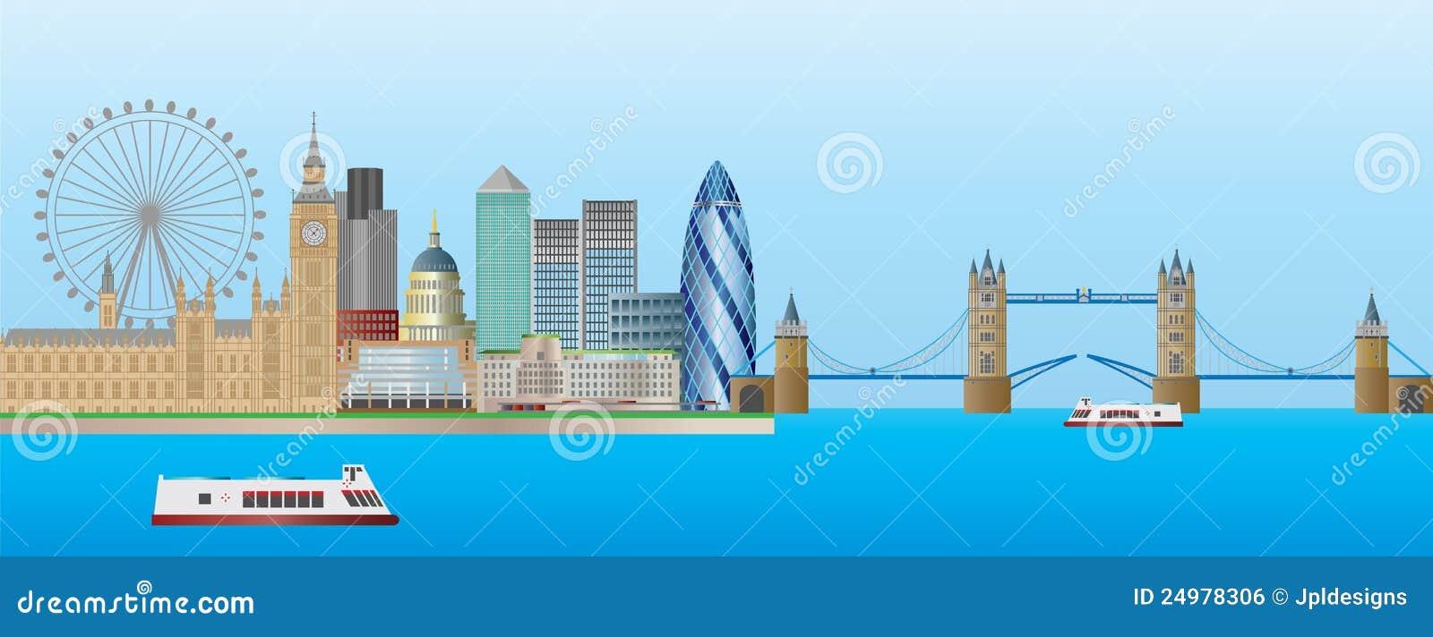 Illustration de panorama d horizon de Londres