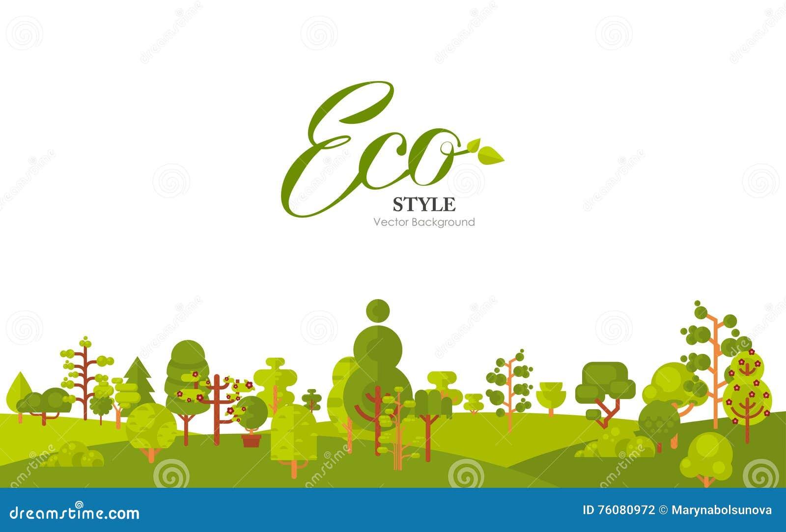 Illustration de papier de bannière ou de bande avec le lettrage, arbres verts et buissons au fond sur un fond blanc dedans