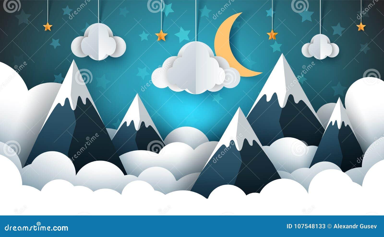 Illustration de papier de paysage de montagne Nuage, étoile, lune, ciel