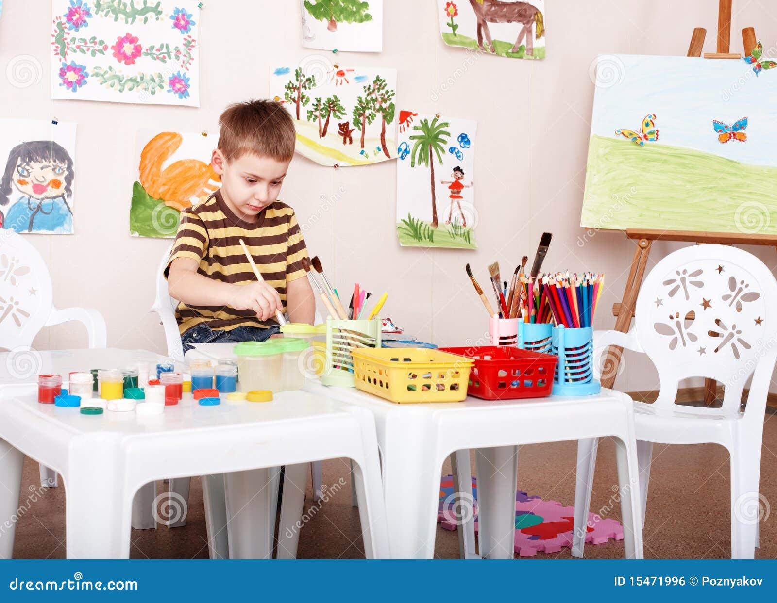 Illustration de peinture d enfant dans l école maternelle.