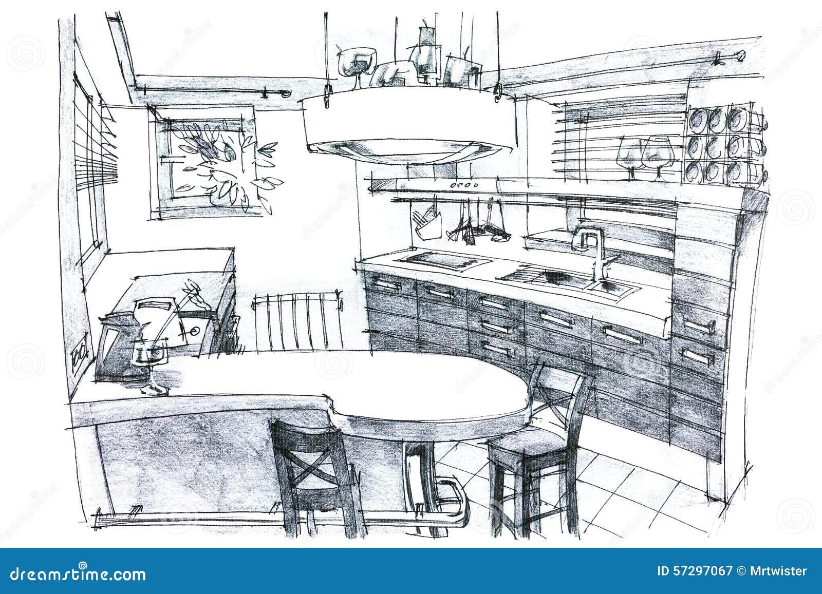 illustration de peinture de crayon d une cuisine illustration stock image 57297067
