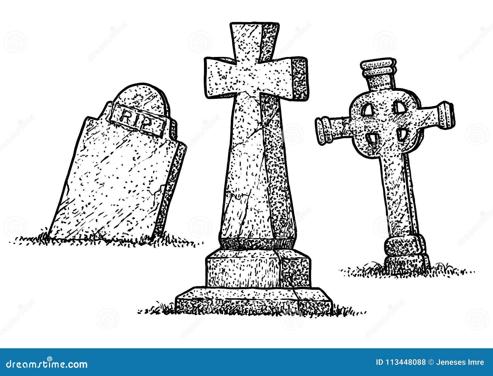Illustration de pierre tombale dessin gravure encre sch ma vecteur illustration de vecteur - Pierre tombale dessin ...