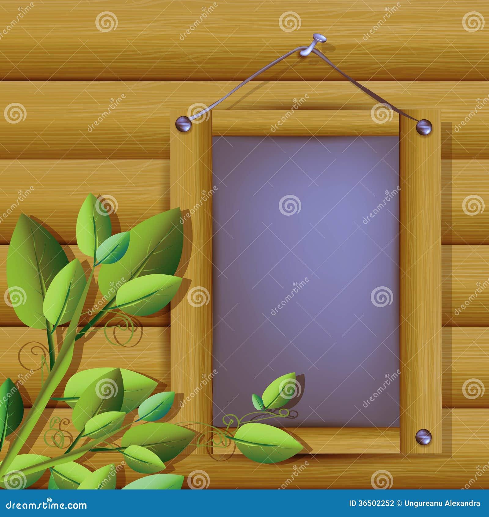 Illustration de planche grise avec le cadre en bois