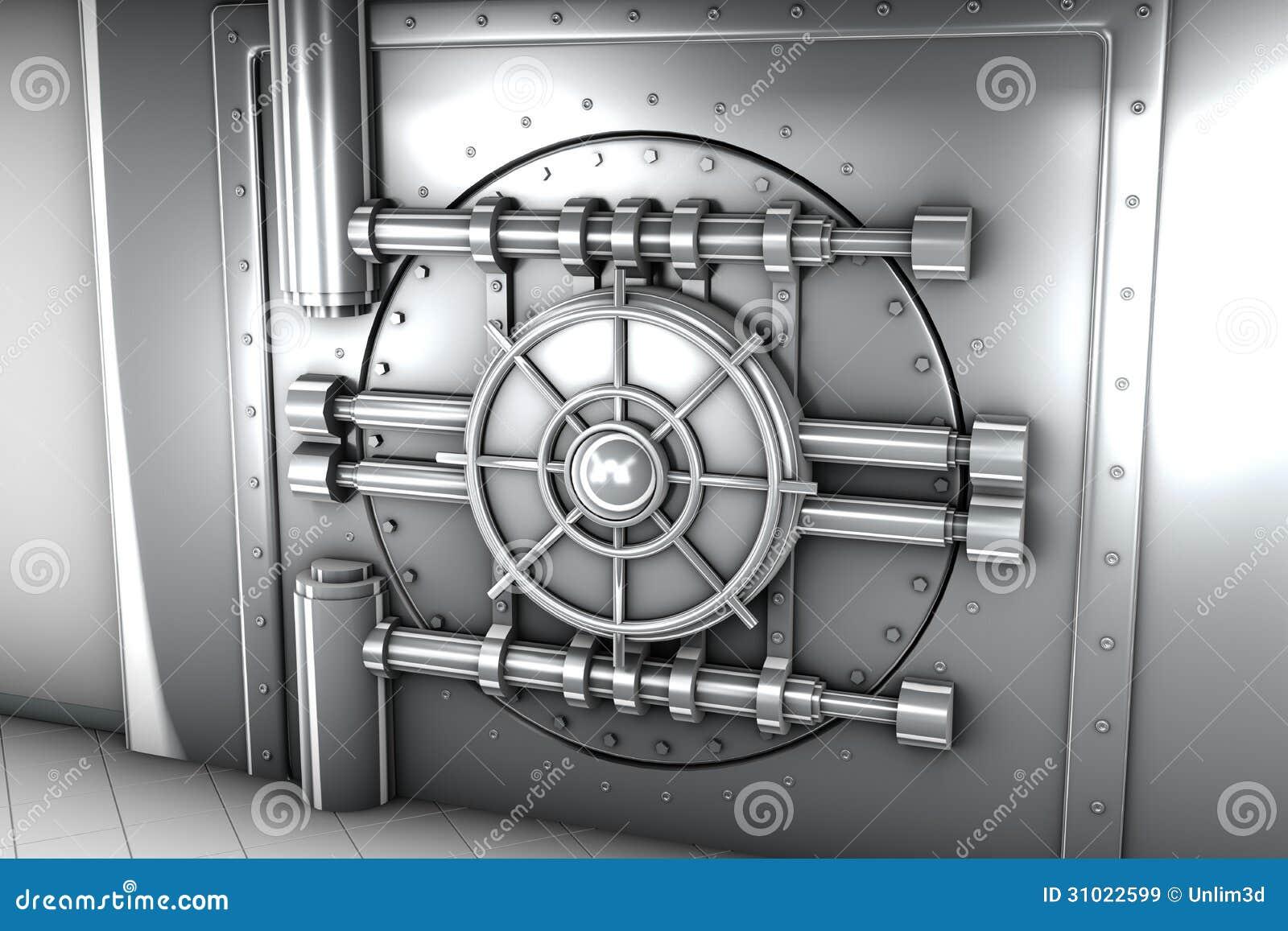 Illustration De Porte De Chambre Forte De Banque, Vue De Face ...