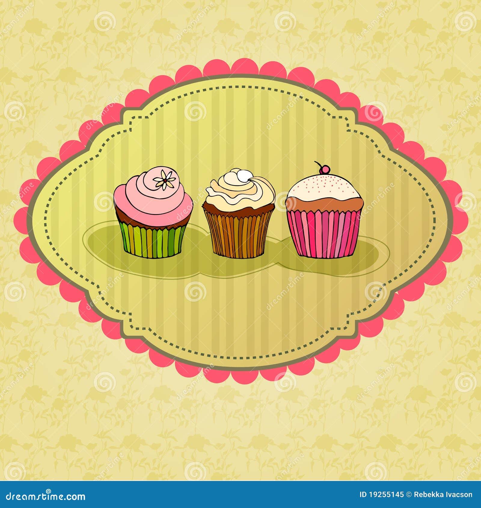Illustration de rétro carte de gâteau