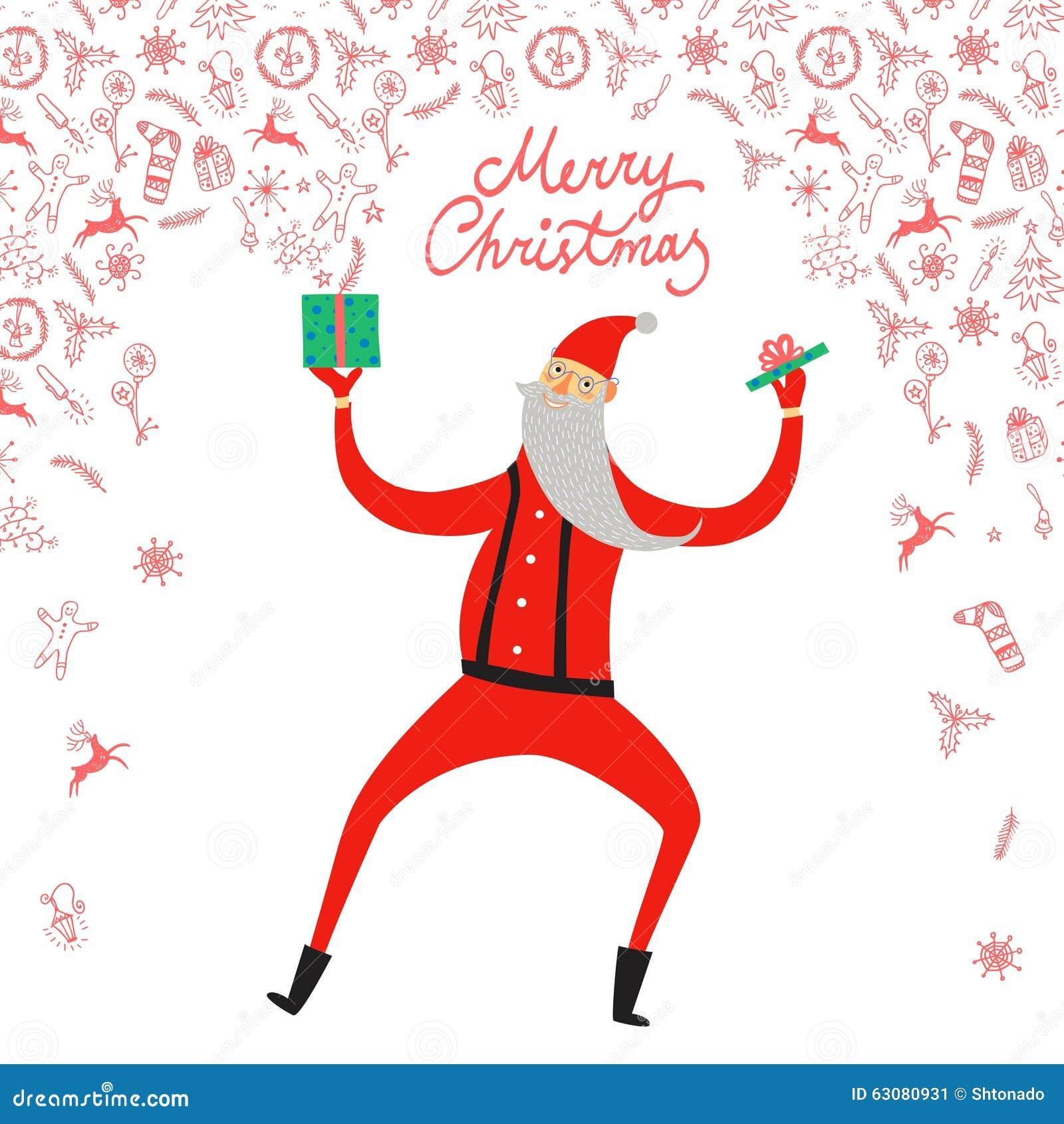 Download Illustration De Santa Claus De Danse Illustration de Vecteur - Illustration du festive, danse: 63080931