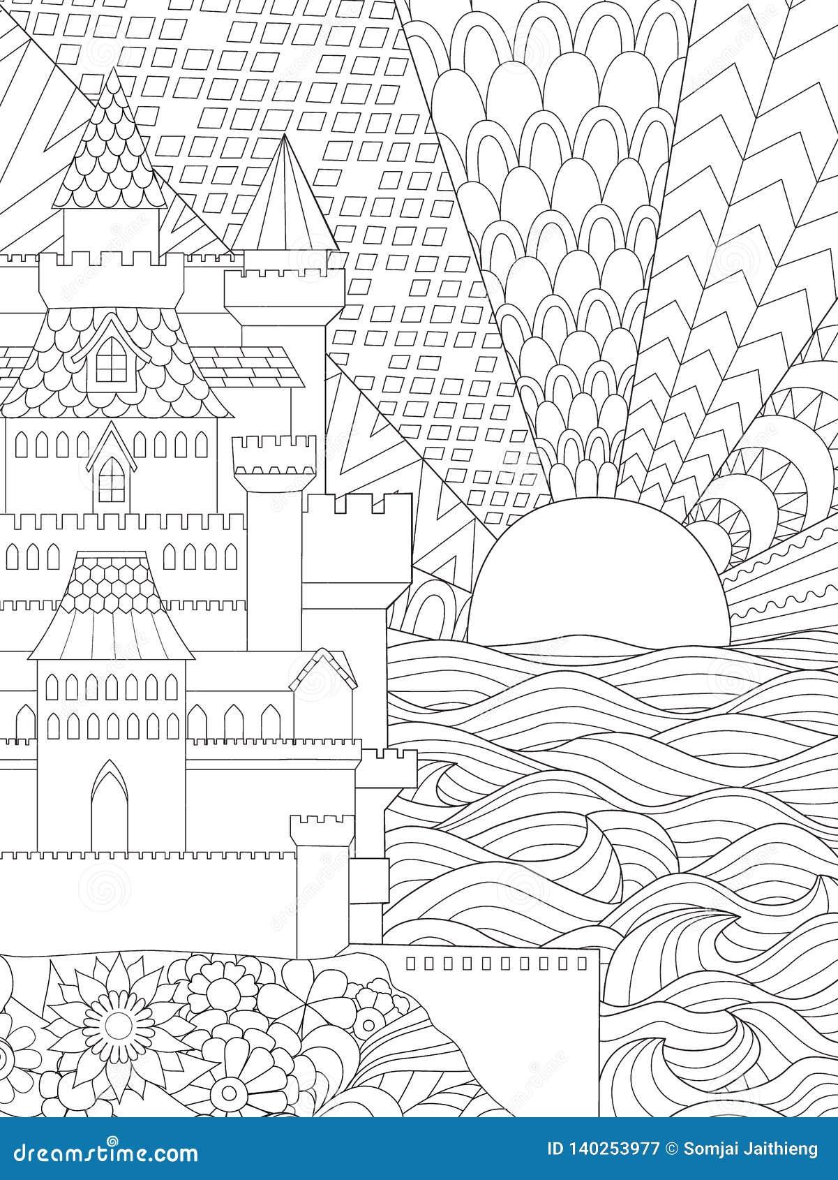 Coloriage Adulte Soleil.Illustration De Schema De Beau Chateau Et Coucher Du Soleil A L