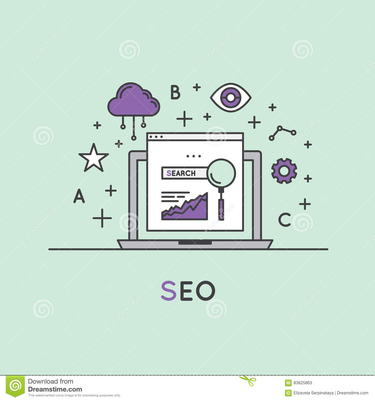 Illustration de SEO Search Engine Optimization Process
