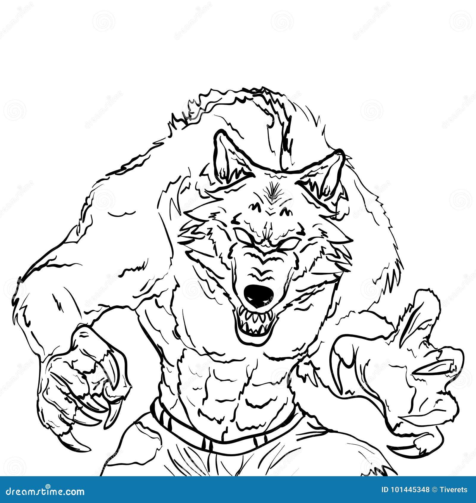 Illustration De Tatouage De Croquis De Loup Garou Illustration De Vecteur Illustration Du Tatouage Loup 101445348