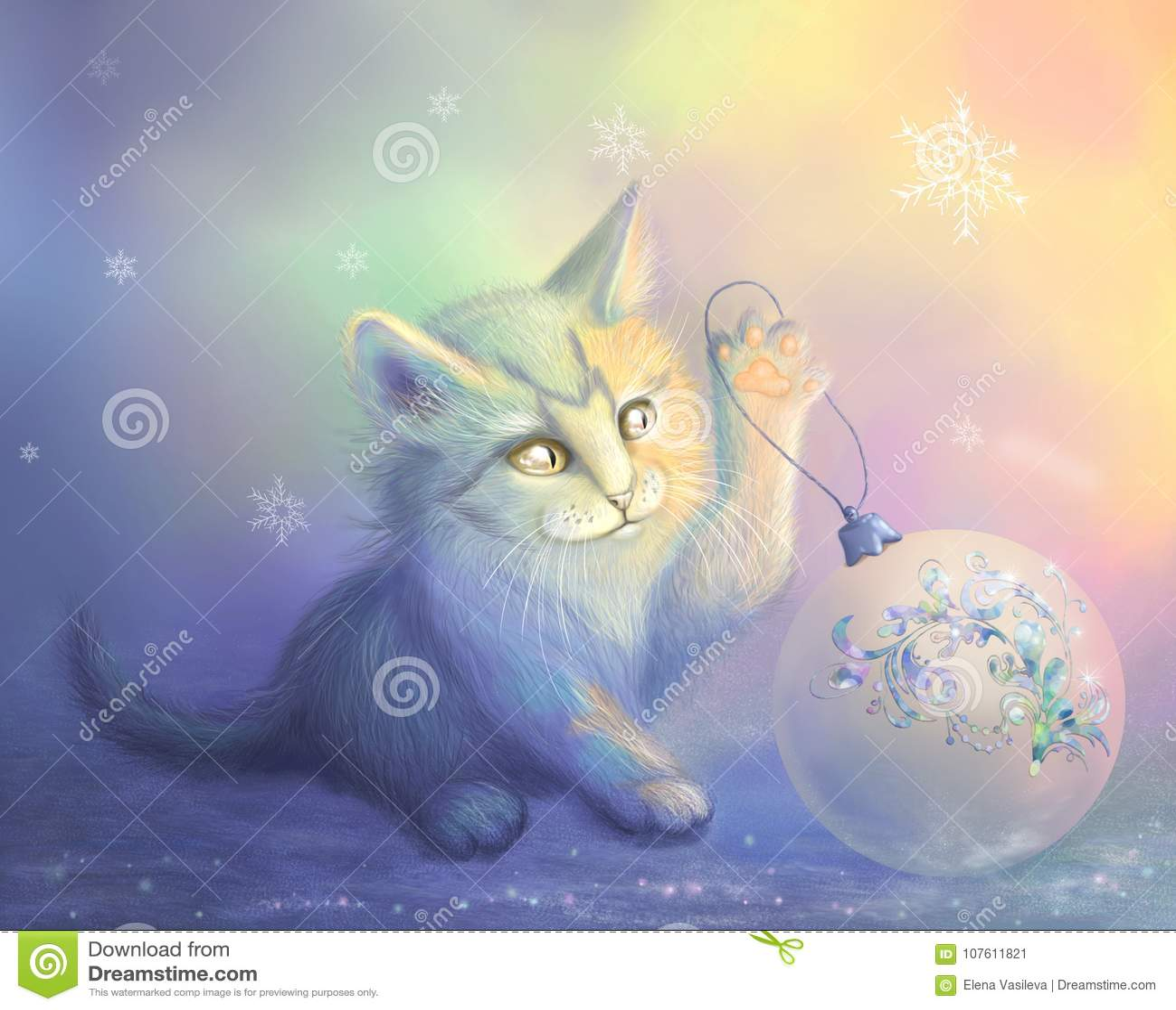 Illustration de trame avec un minou et une boule de Noël