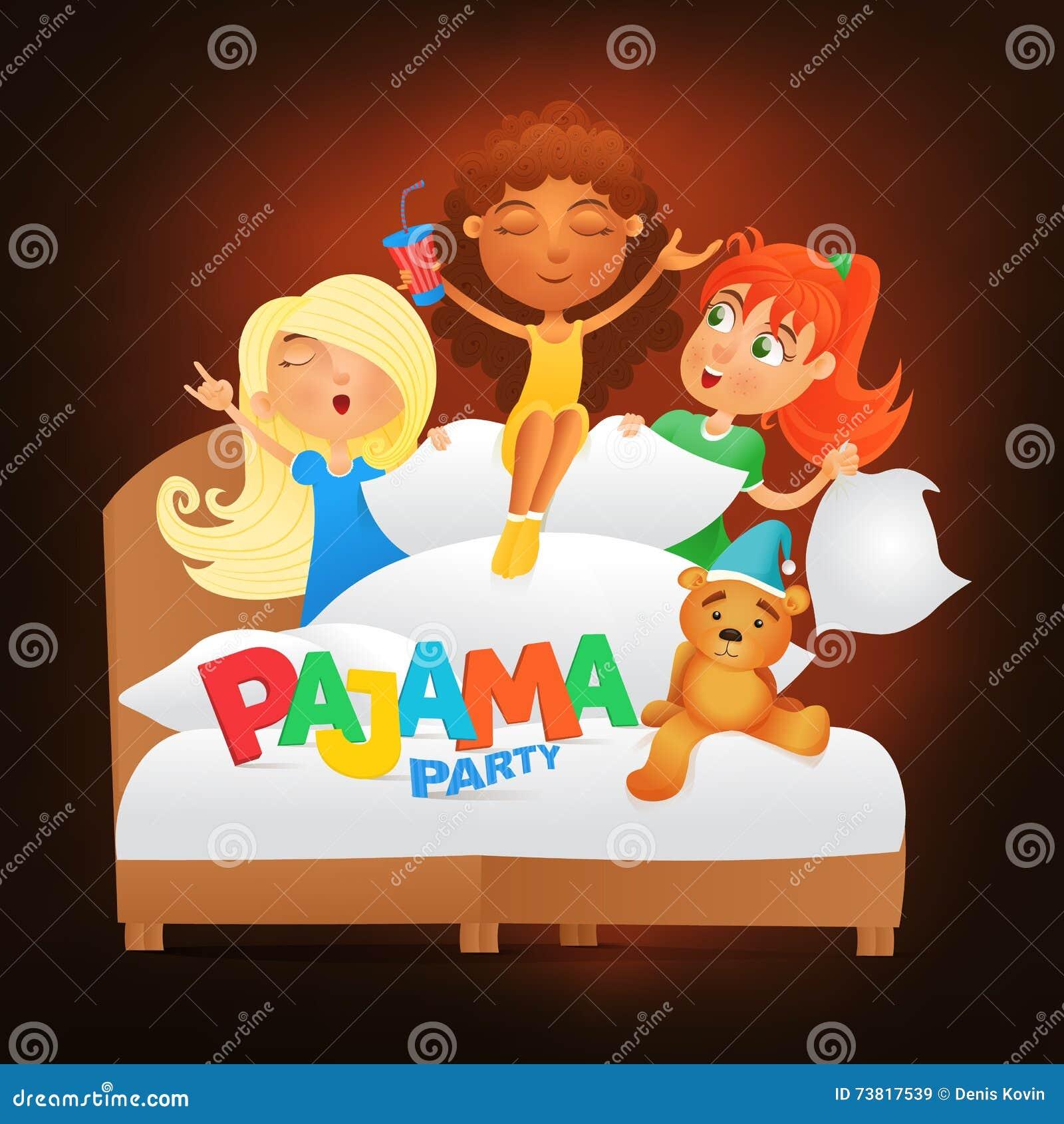 Illustration De Trois Filles Ayant La Soirée Pyjamas De