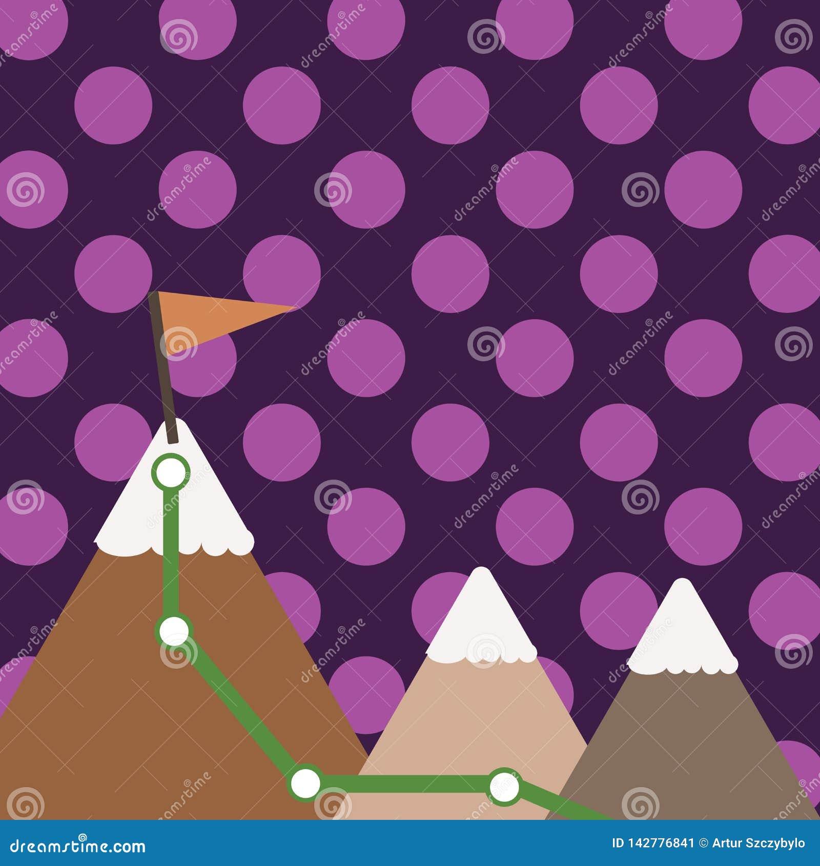 Illustration de trois montagnes colorées avec la traînée et de dessus blanc de Milou avec le drapeau sur une crête Fond créateur
