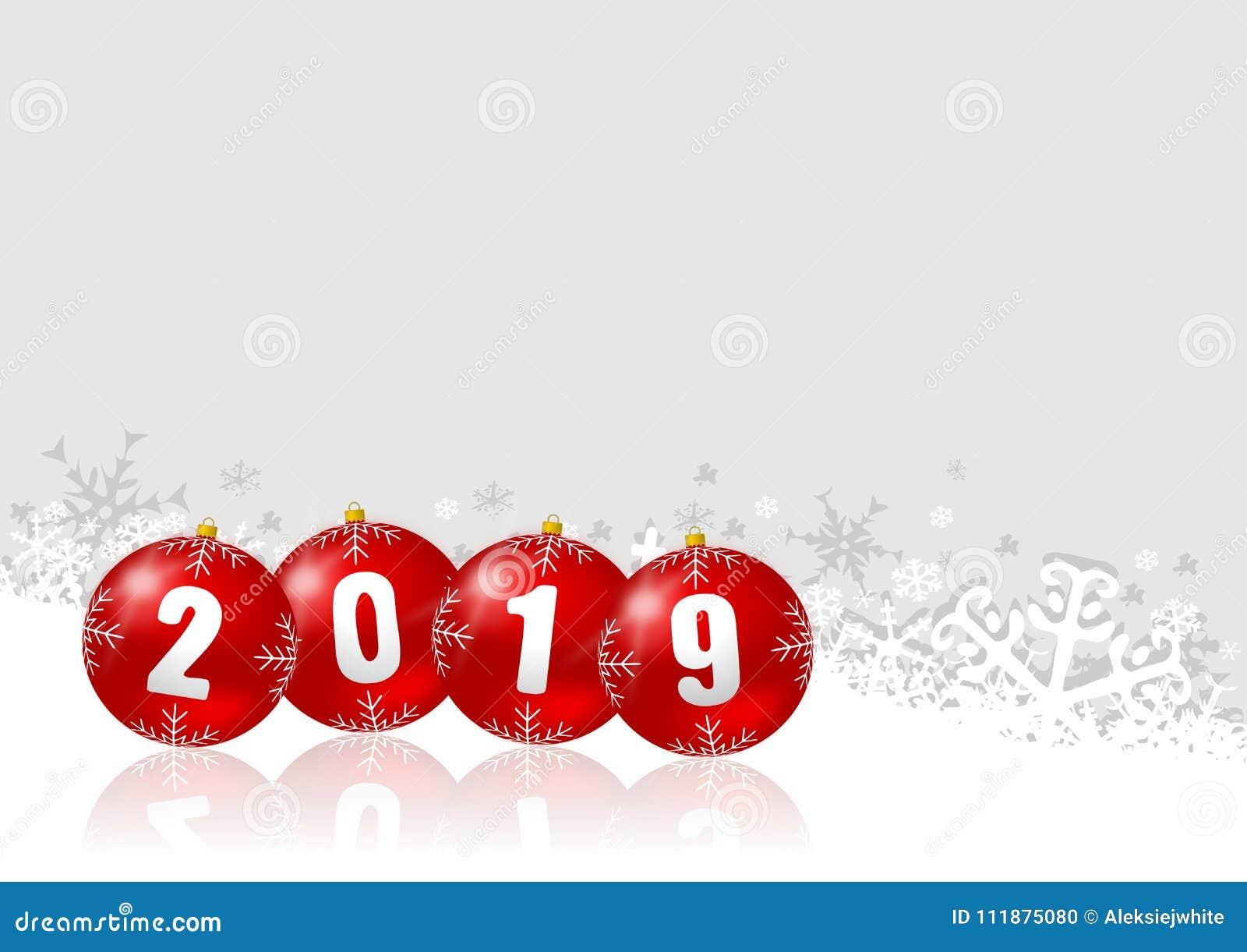Illustration 2019 De Vacances De Nouvelle Année Avec Des Boules De