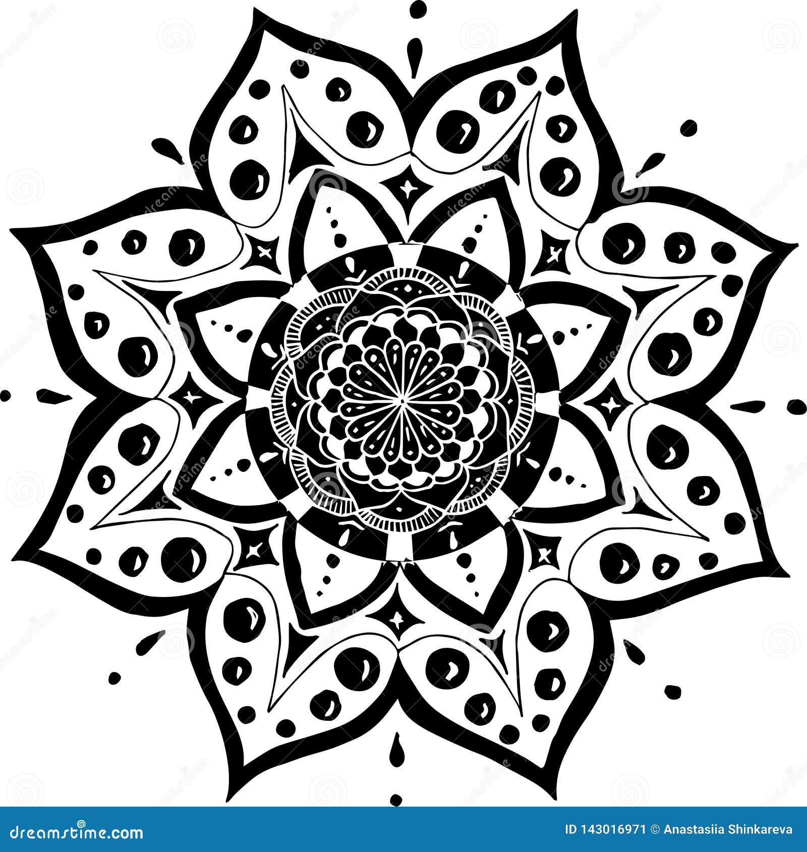Illustration De Vecteur Avec Le Mandala Comme Une Fleur