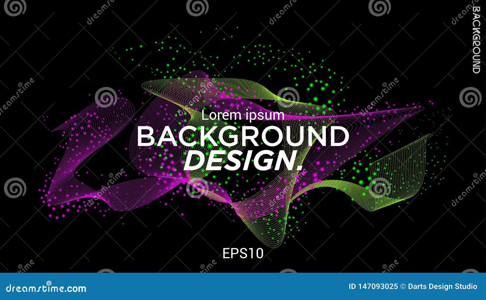 Illustration de vecteur avec les vagues musicales des points Conception moderne avec les éléments dynamiques Vague des particules