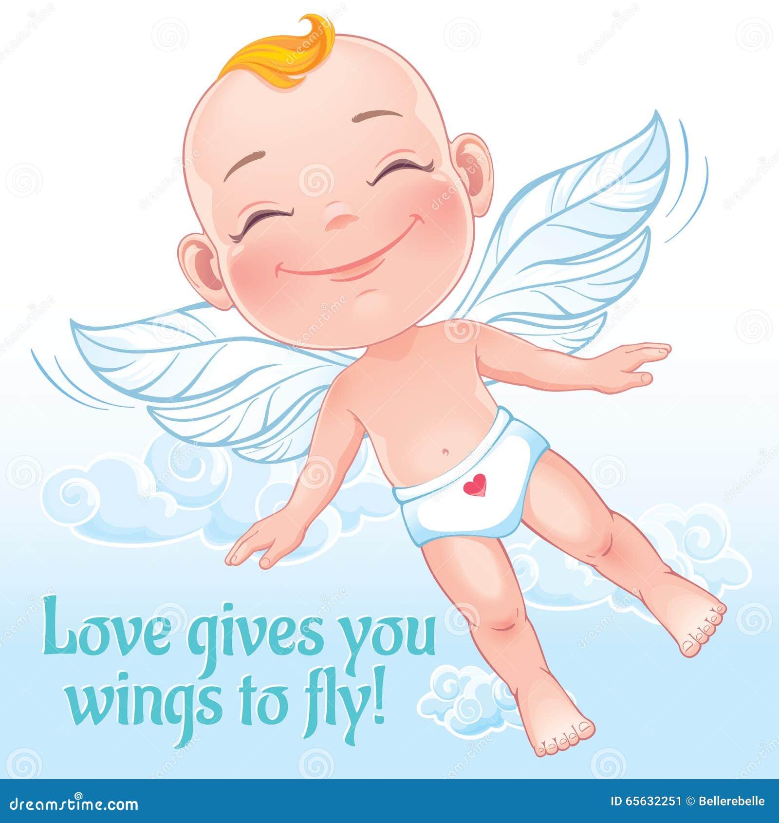 Illustration de vecteur avec piloter le cupidon heureux de bébé