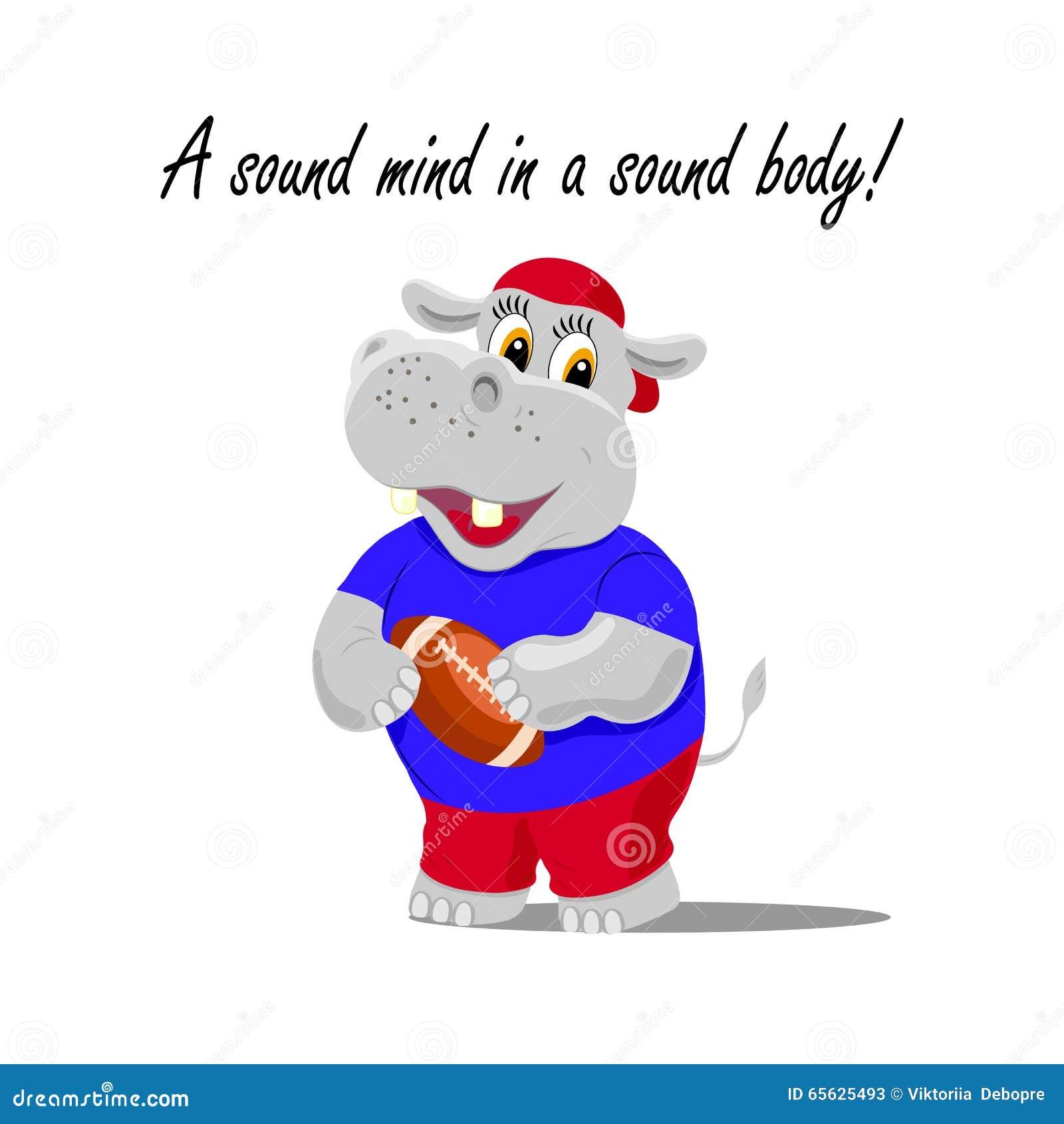 Illustration de vecteur avec un hippopotame mignon comme joueur de rugby tenant une boule Un esprit sain dans un lettrage sain de