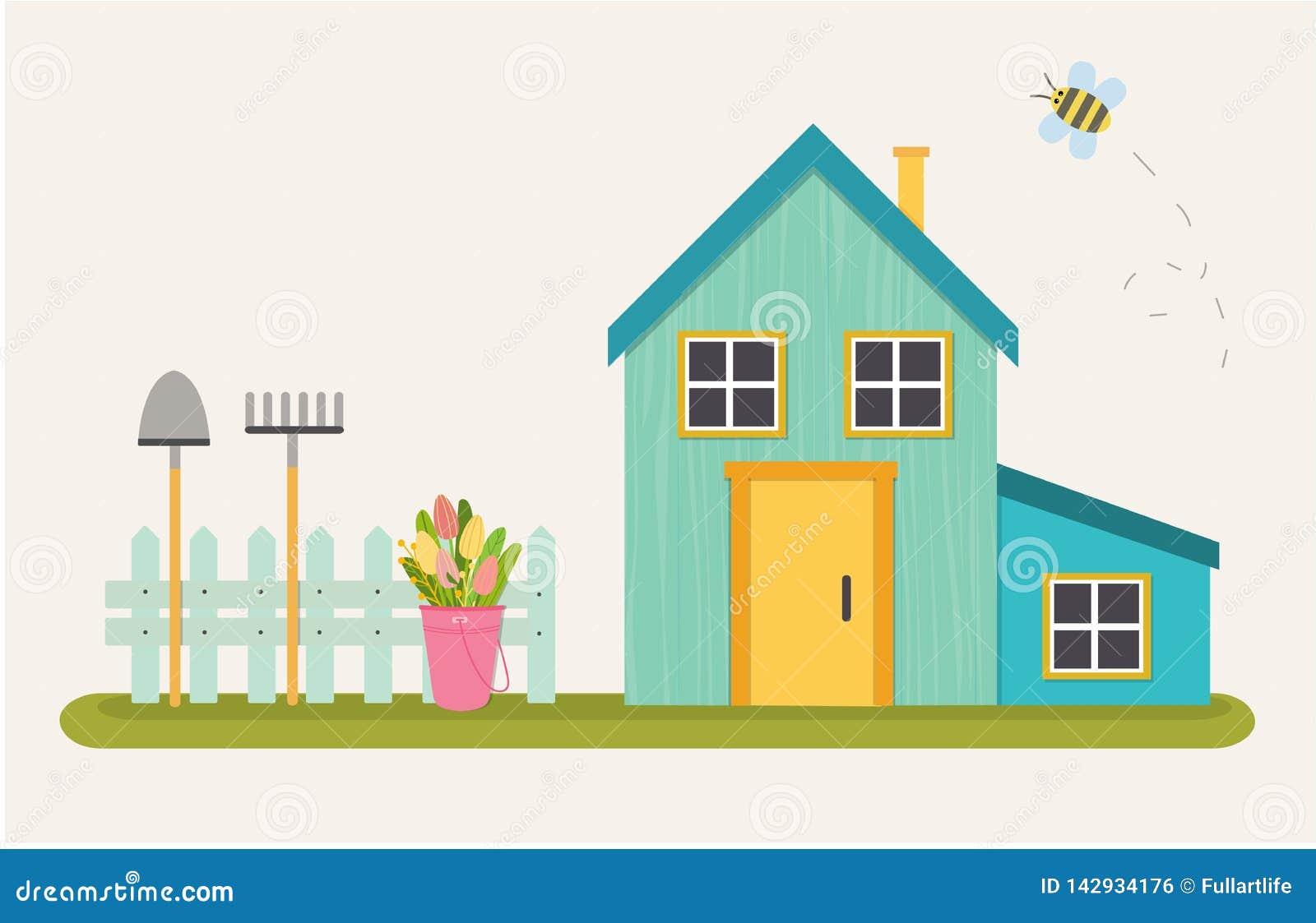 Illustration de vecteur de belle maison bleue