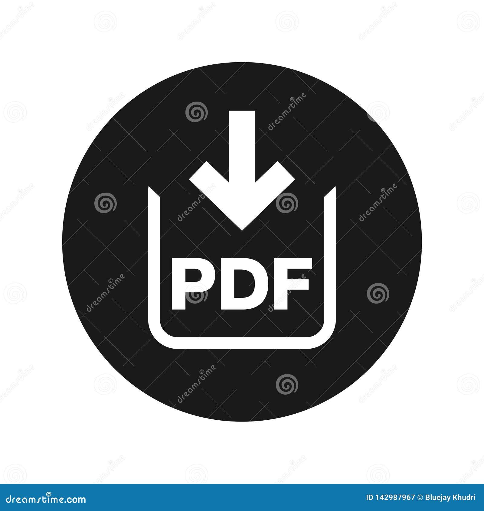 Illustration de vecteur de bouton de rond de noir mat d icône de téléchargement de document de pdf