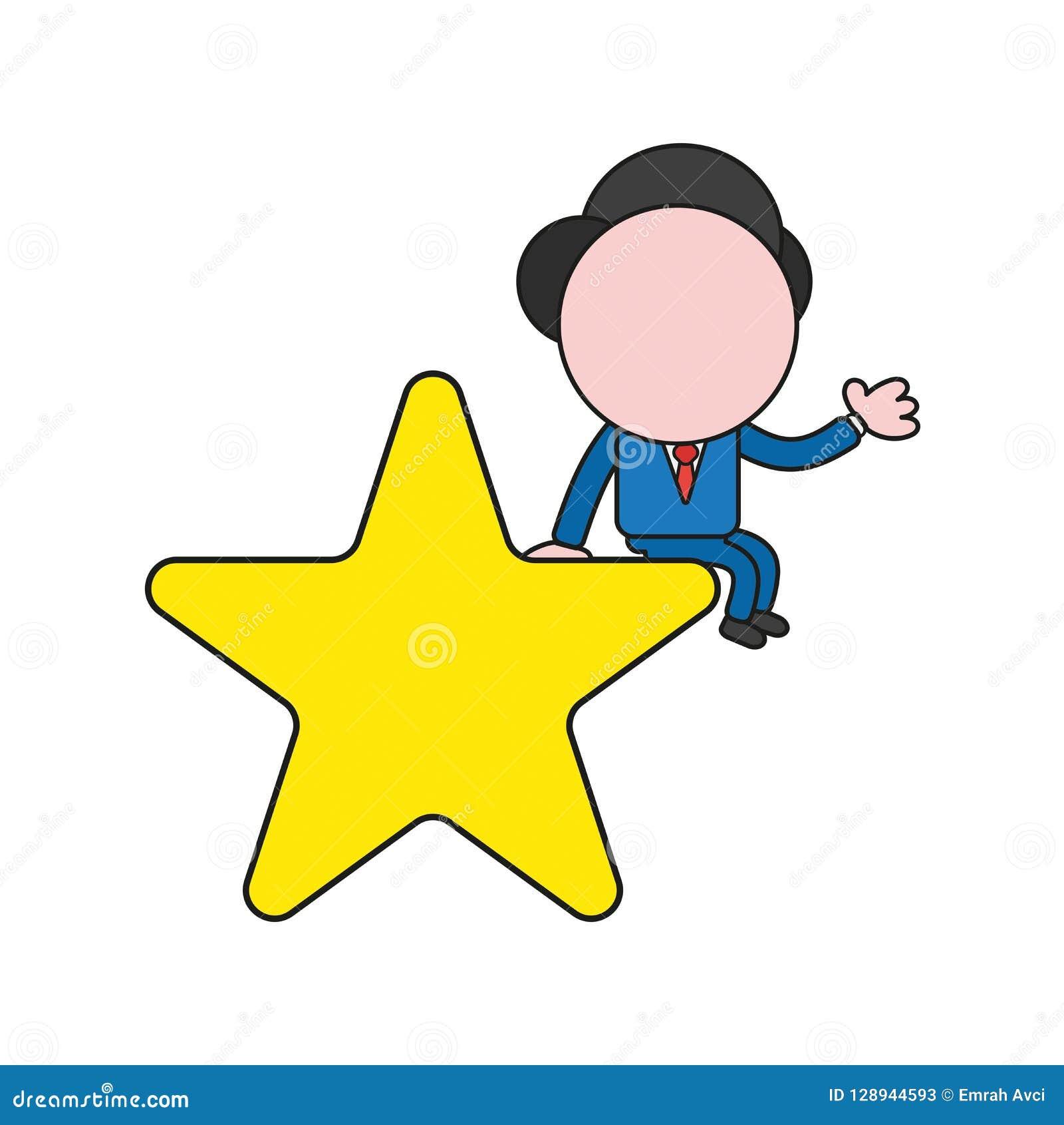 Illustration de vecteur de caractère d homme d affaires se reposant sur l étoile Co