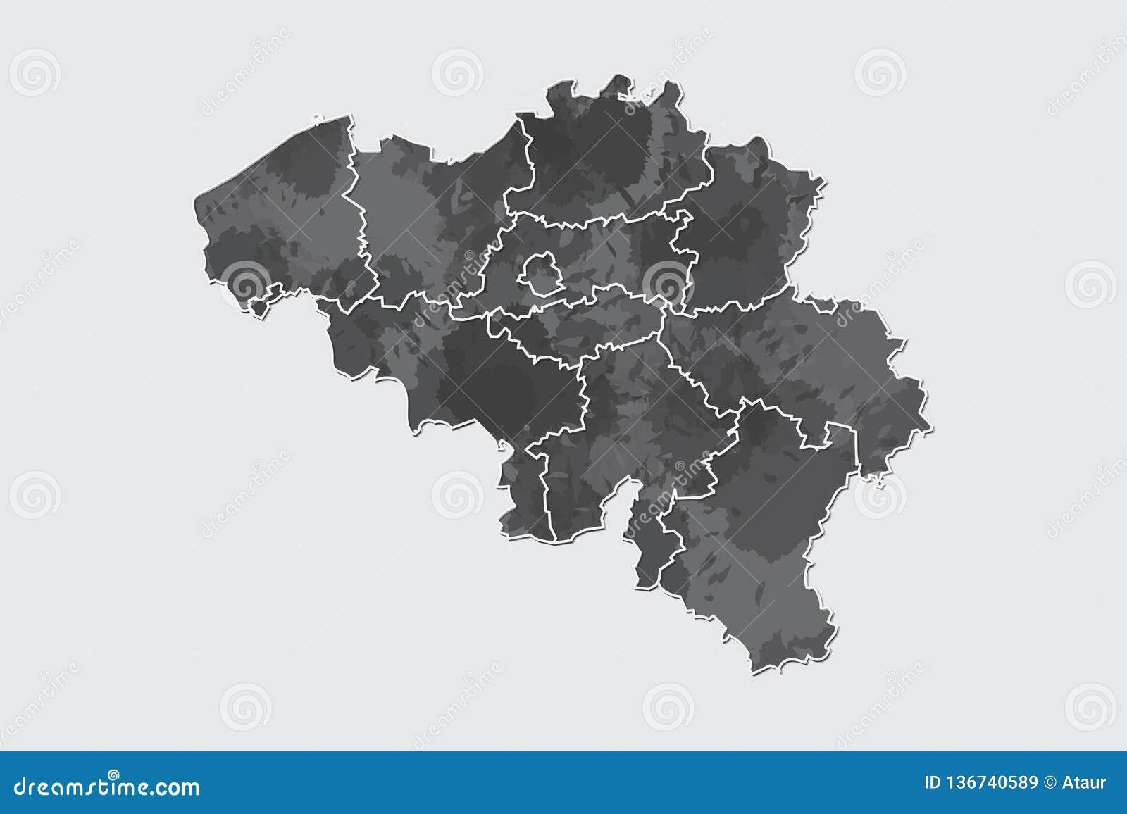 Illustration de vecteur de carte d aquarelle de la Belgique de couleur noire avec des lignes de frontière de différentes régions