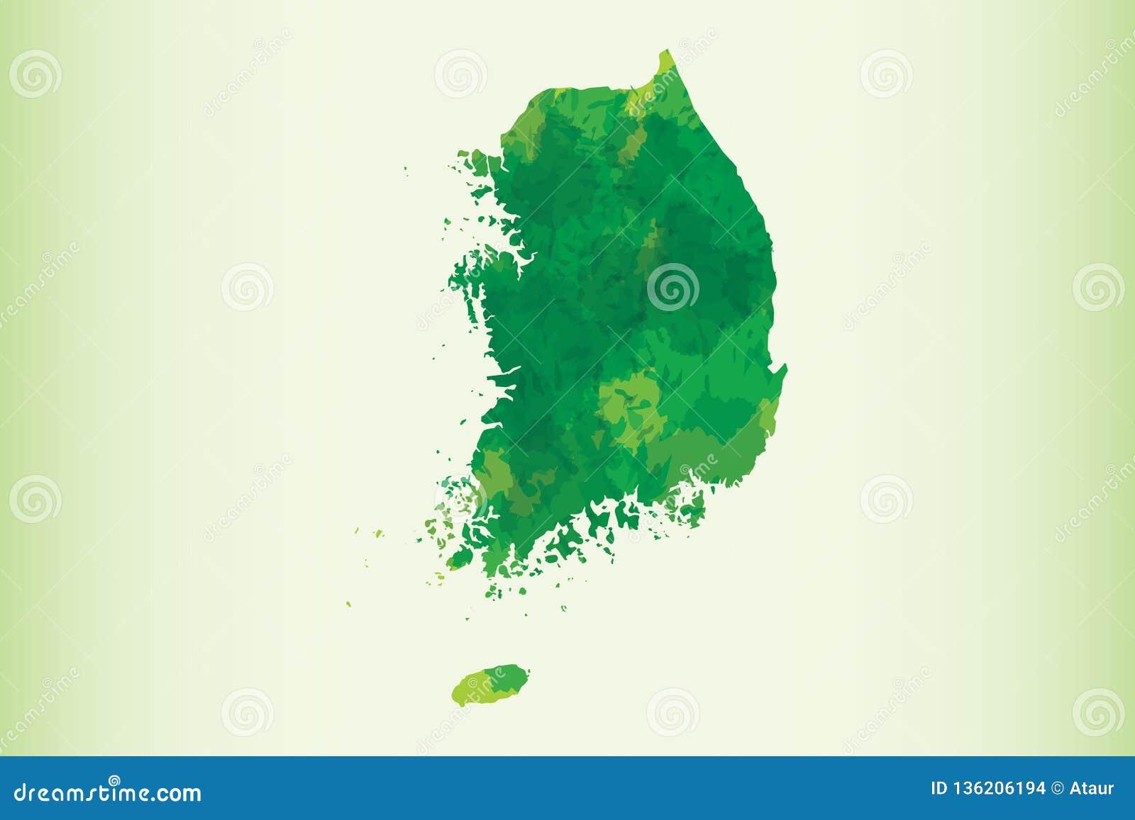Illustration de vecteur de carte d aquarelle de la Corée du Sud de couleur vert-foncé sur le fond clair utilisant le pinceau en p