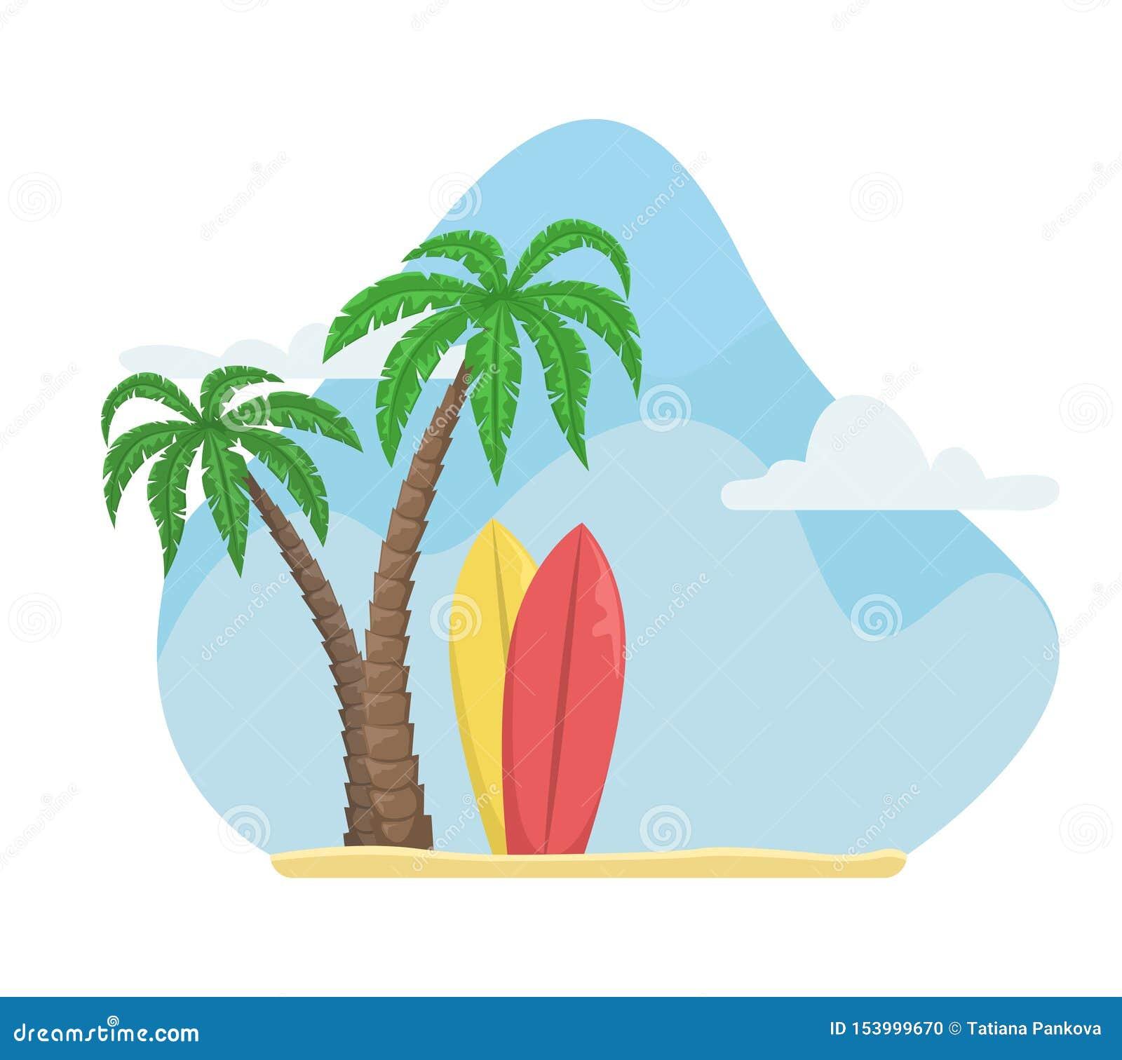 Illustration De Vecteur D été Avec Des Palmiers Et Des