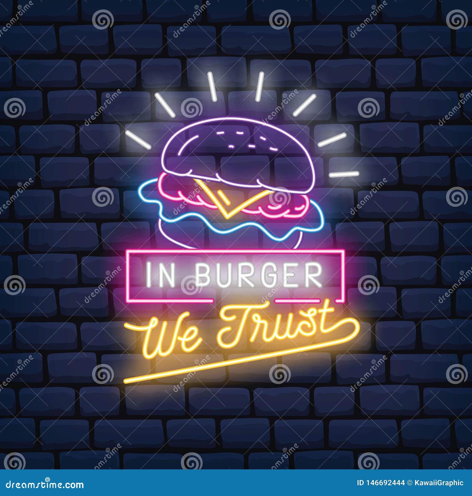 Illustration de vecteur d enseigne au néon de restaurant d hamburger