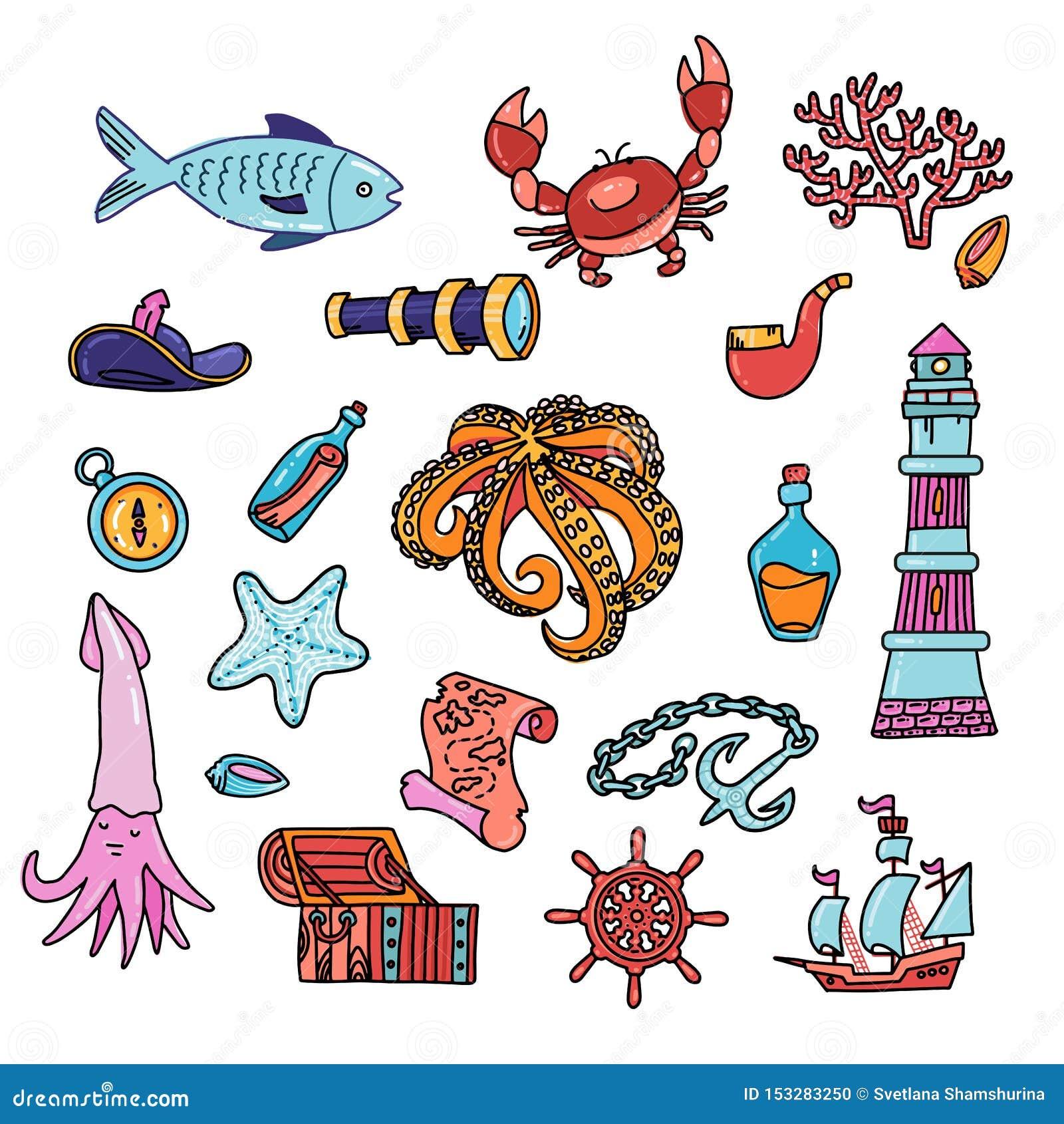 Illustration de vecteur d ensemble de symboles d aventure Bouteille de regard de carte de boussole de phare d ancre de coffre au