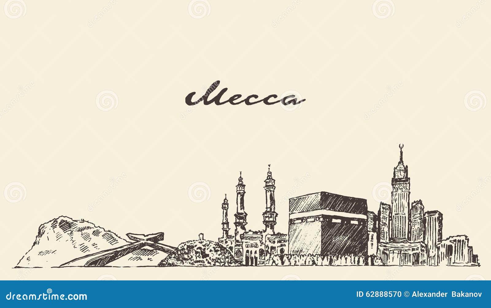 Illustration de vecteur d horizon de Mecque tirée par la main