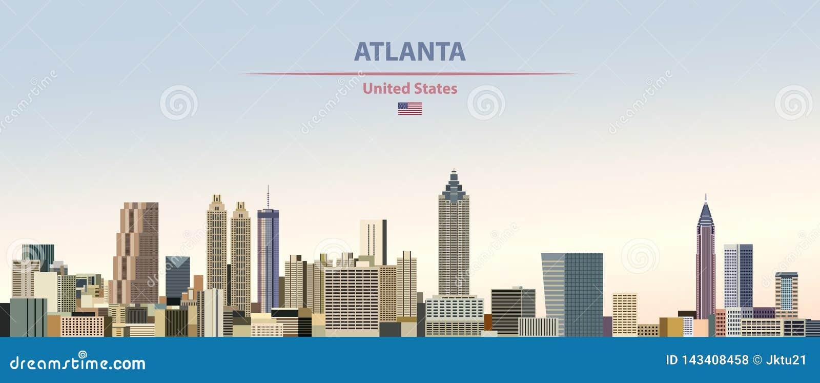 Illustration de vecteur d horizon de ville d Atlanta sur le beau fond de ciel de jour de gradient coloré avec le drapeau des Etat