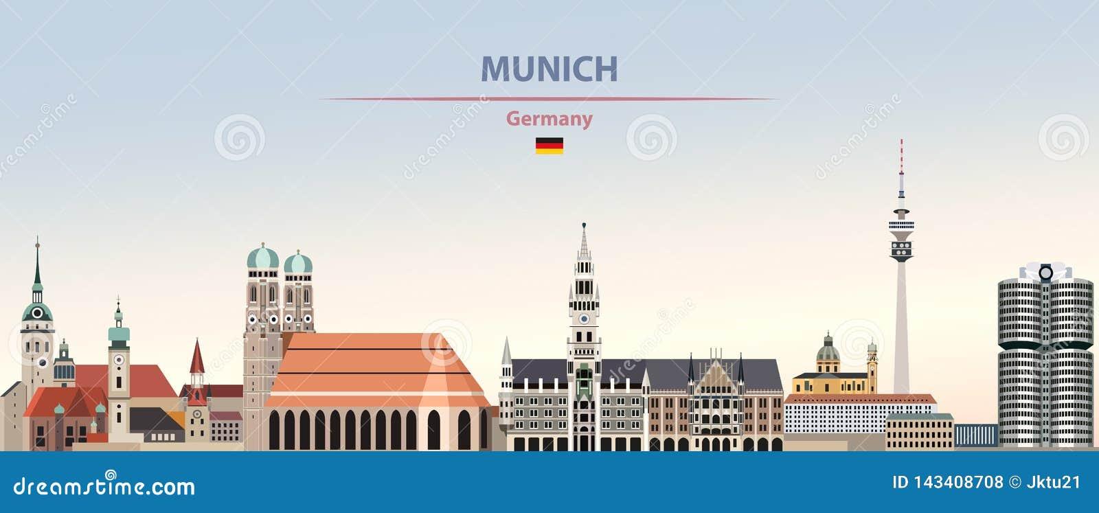 Illustration de vecteur d horizon de ville de Munich sur le beau fond de ciel de jour de gradient coloré avec le drapeau de l All