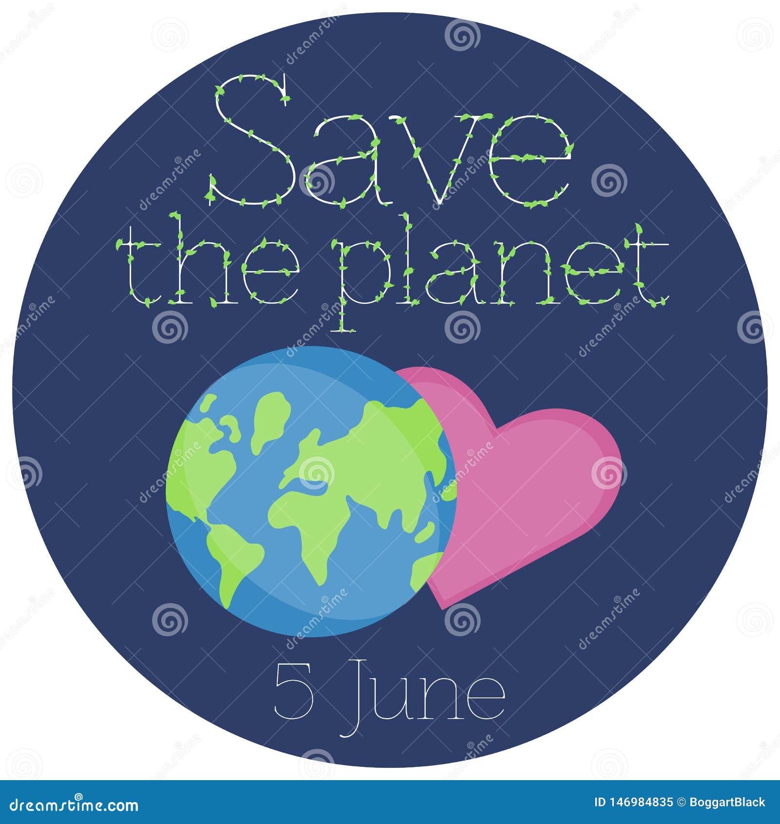 Illustration de vecteur d un autocollant pour le jour d environnement du monde
