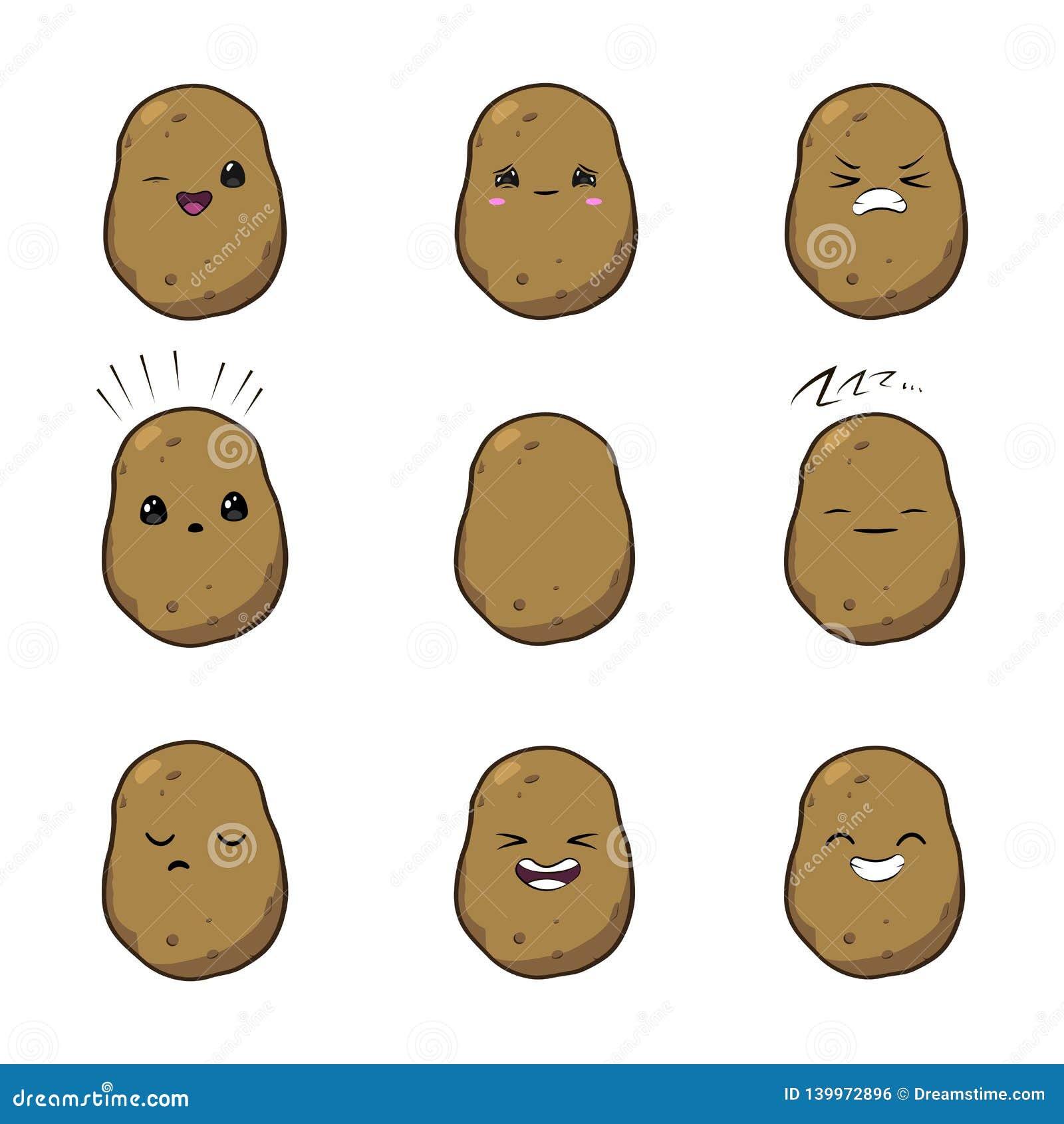Illustration de vecteur d un jeu de caractères végétal de vecteur de bande dessinée mignonne de pommes de terre d isolement sur l
