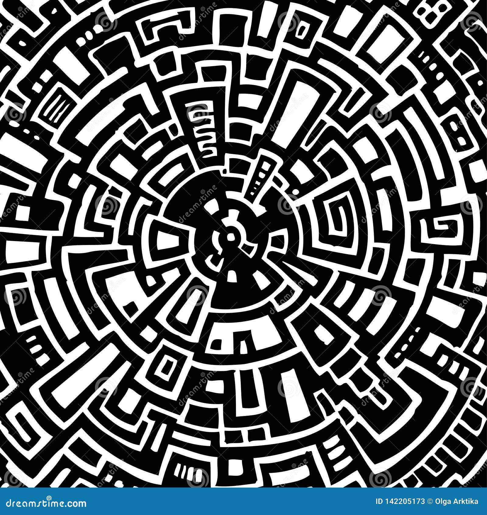 Illustration de vecteur d un labyrinthe circulaire abstrait
