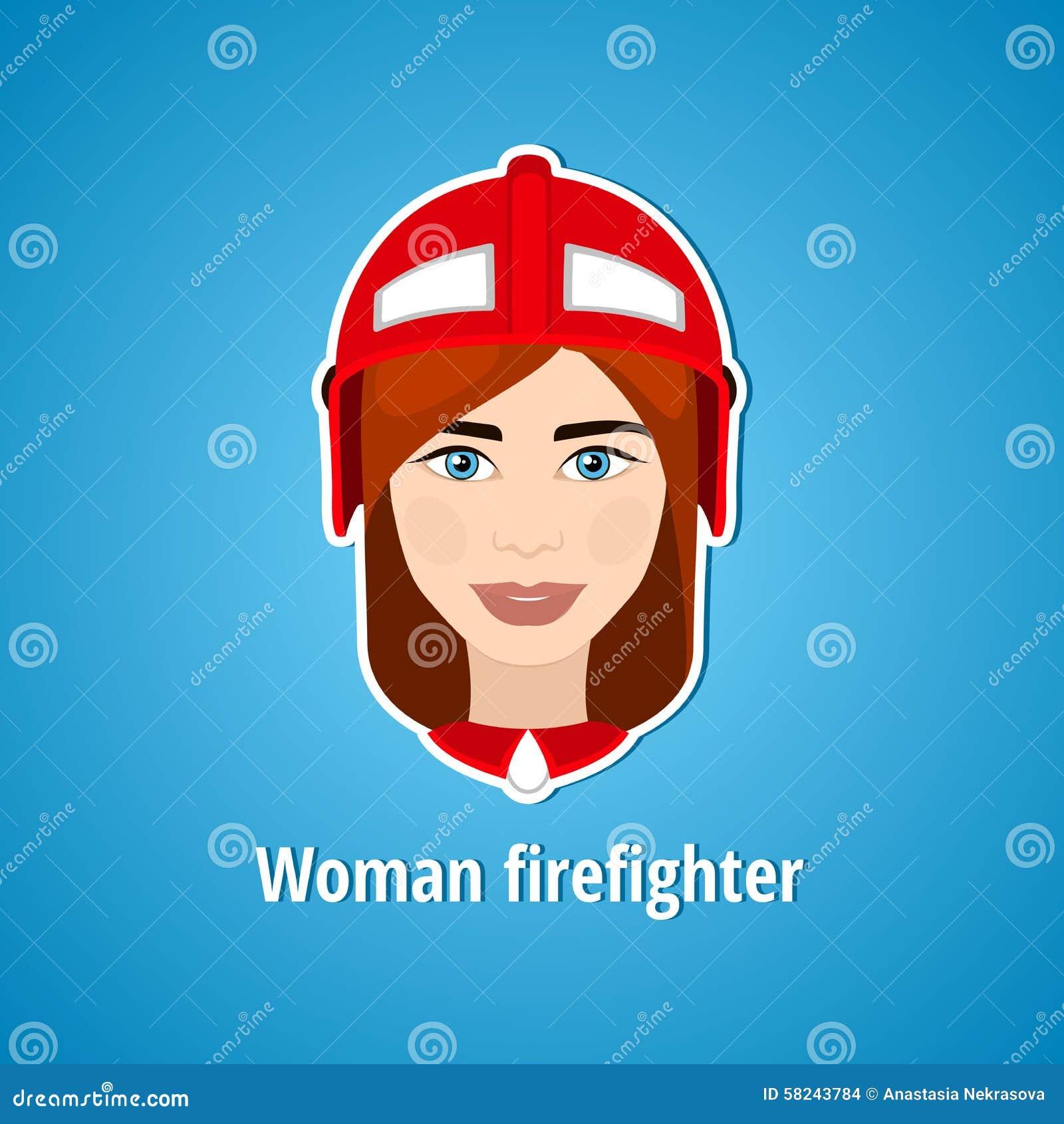 Illustration de vecteur d un sapeur-pompier de fille Sapeur-pompier de femme graphisme Icône plate minimalisme La fille stylisée