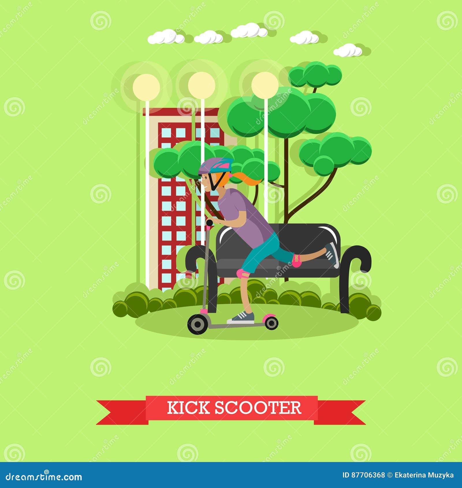 Illustration de vecteur d un scooter de coup-de-pied d équitation de fille, style plat