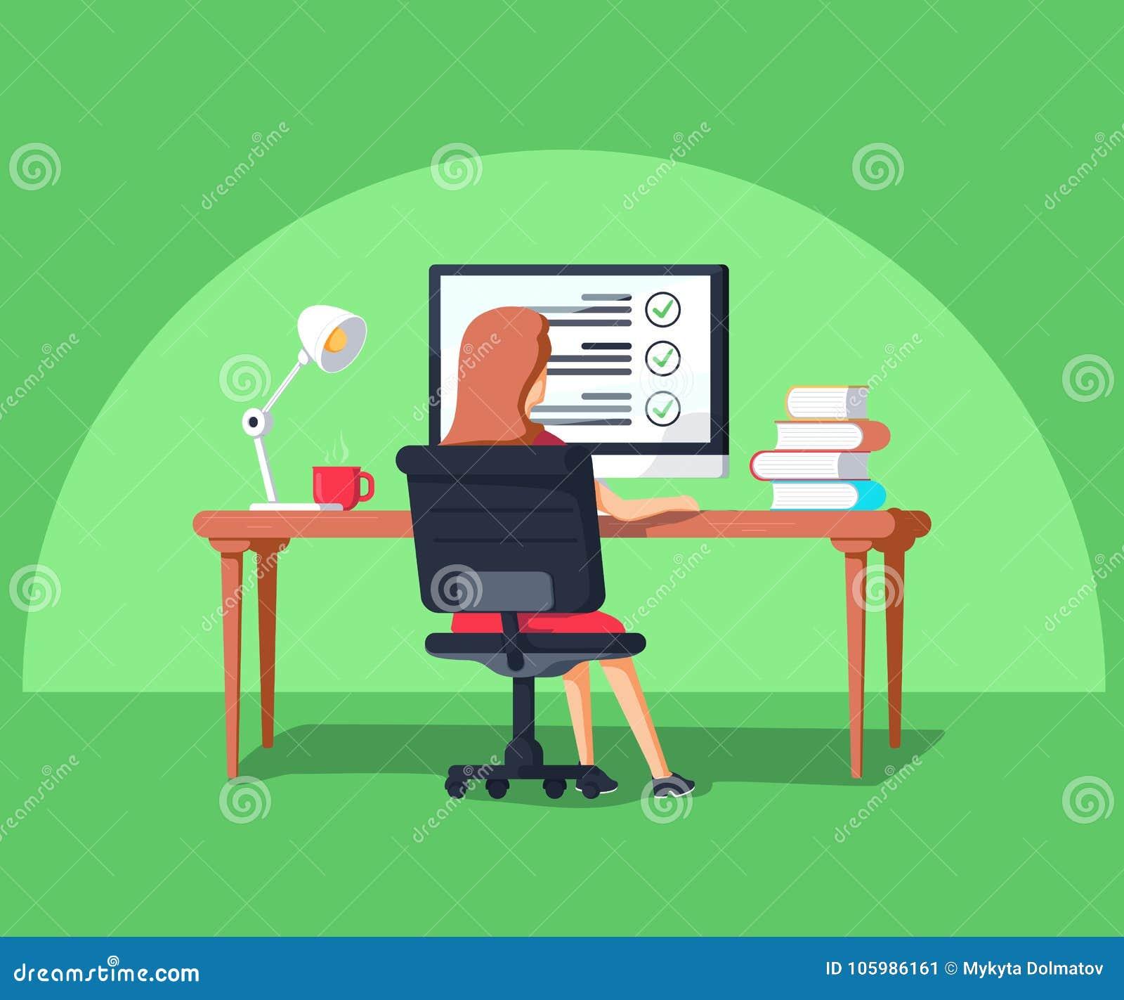 Illustration de vecteur dans le style plat Femme s asseyant à l ordinateur Externalisez le chef de projet travaillant à distance