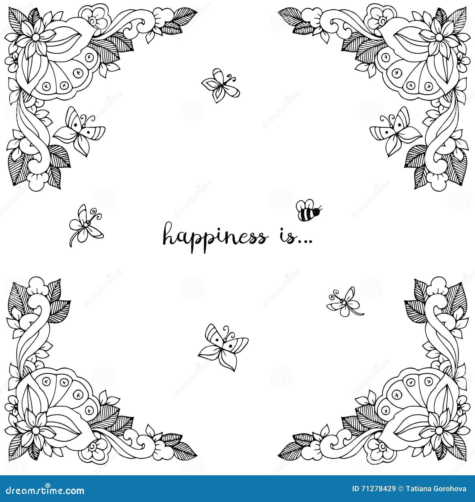 Illustration de vecteur de cadre floral Zen Tangle Dudlart Anti effort de livre de coloriage pour
