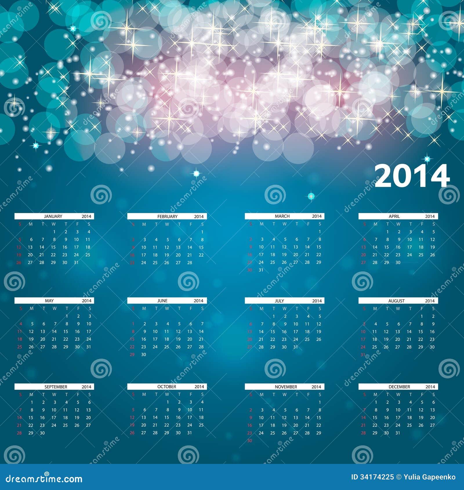 Illustration de vecteur de calendrier de la nouvelle année 2014