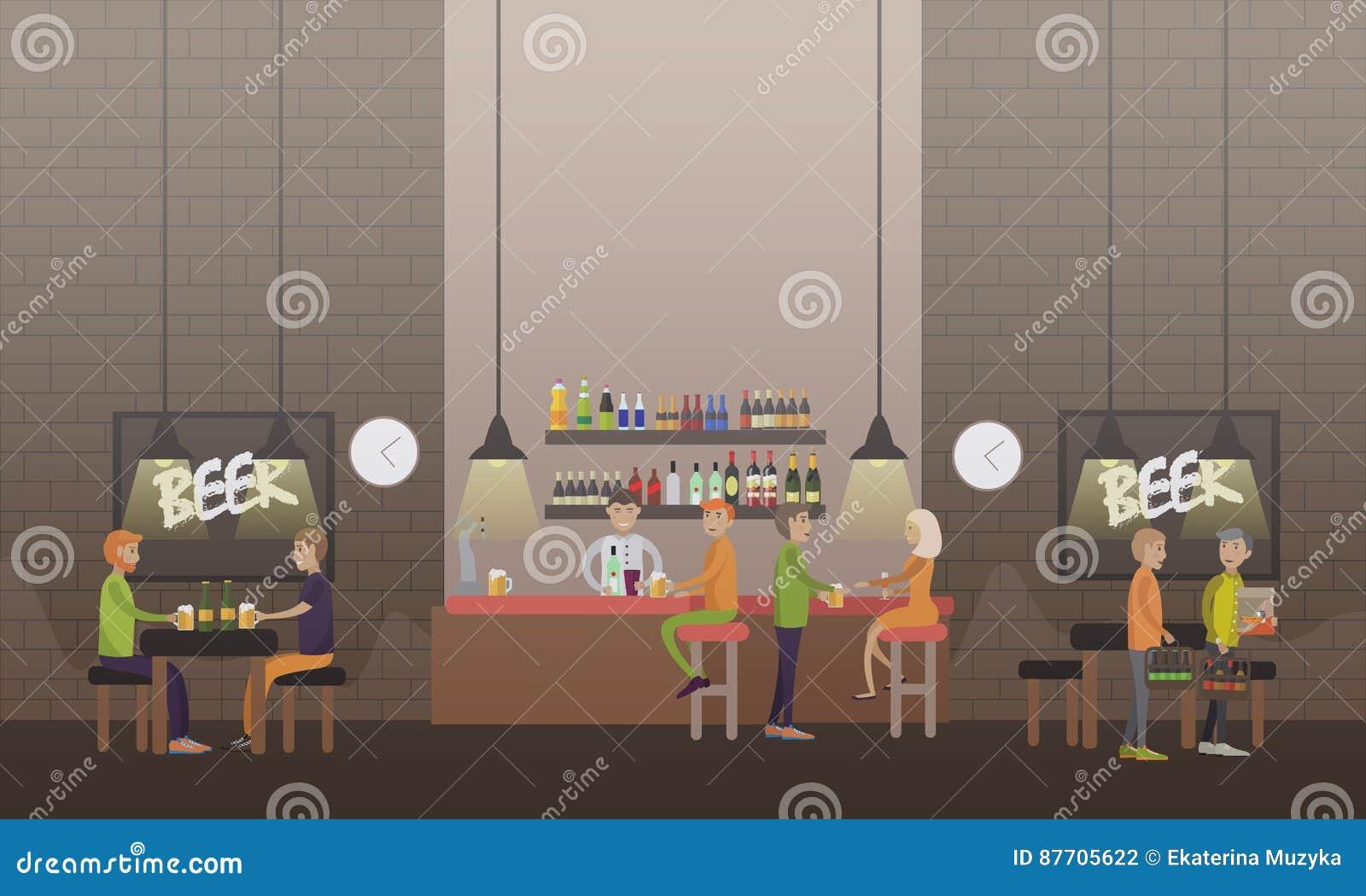 Illustration de vecteur de concept de brasserie dans le style plat
